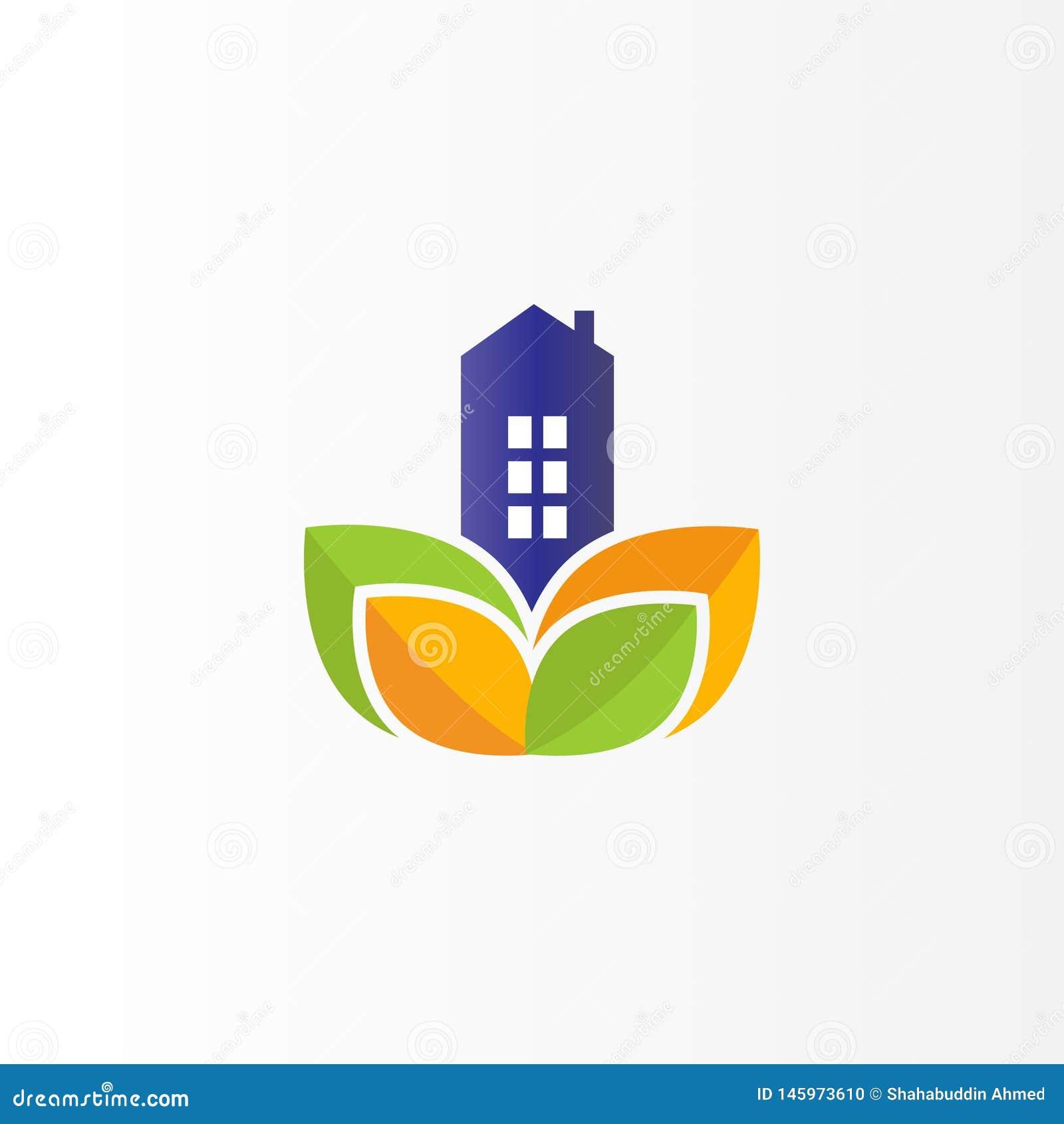 Modern Real Estate Logo Design Vlak embleem met blad