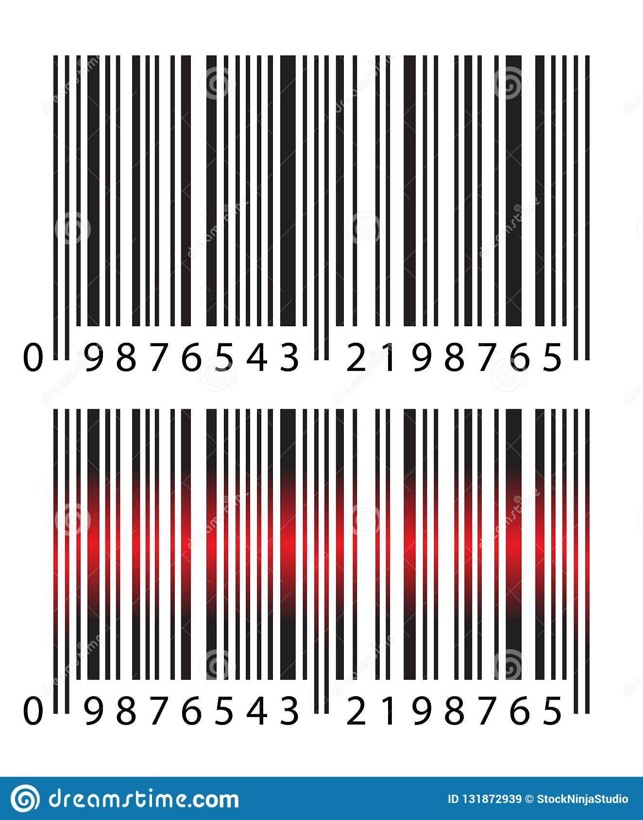 Modern Realistic Simple Barcode Barcode With Red Laser Light On White Background Stock Vector Illustration Of Item Line 131872939