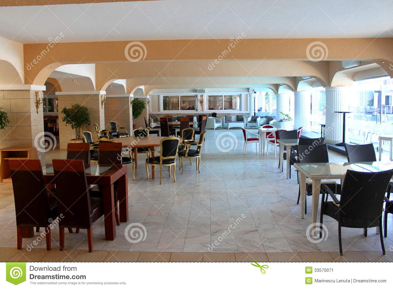 Modern restaurant stock image of column building