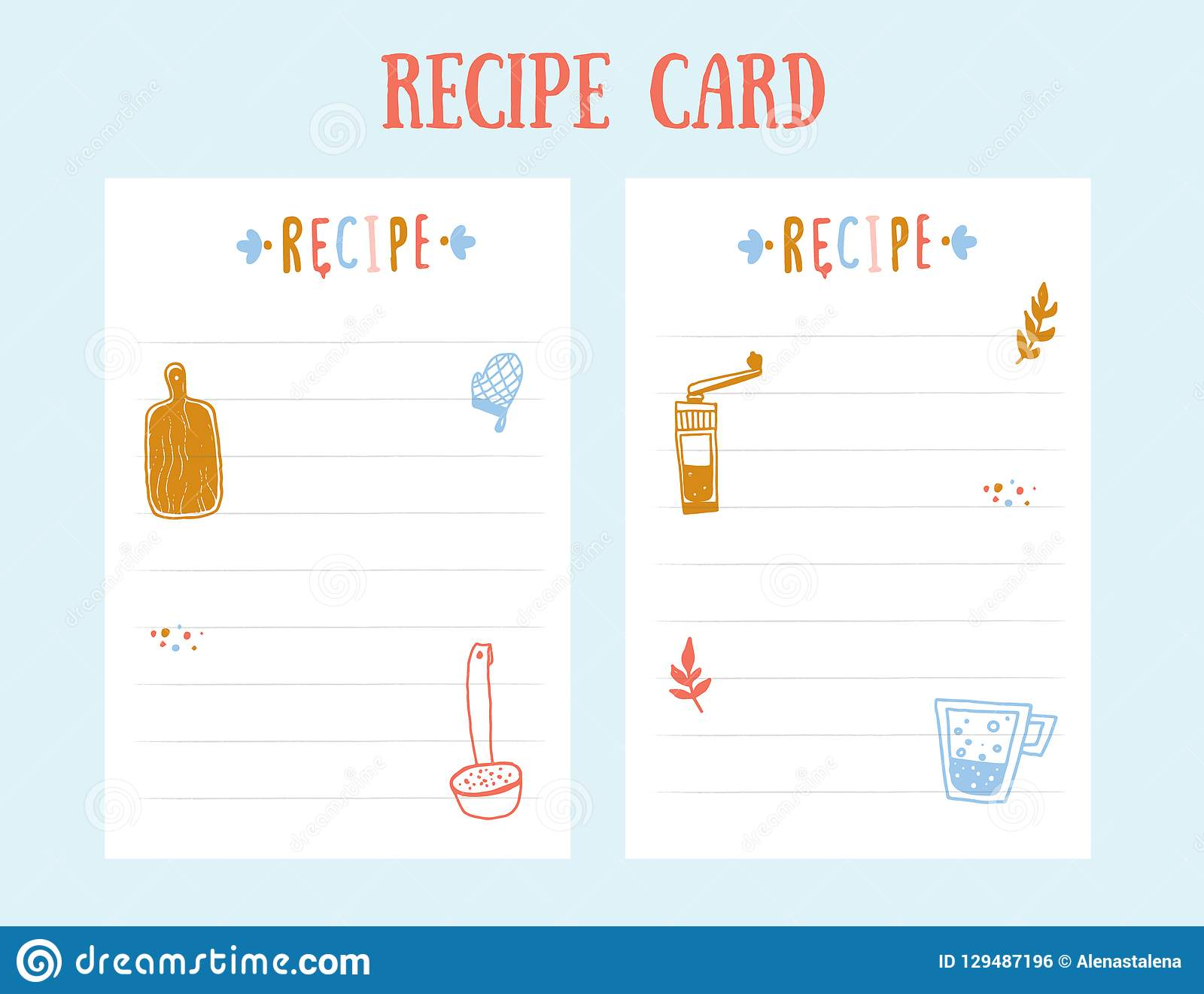 modern recipe card template for cookbook menu vector illustration