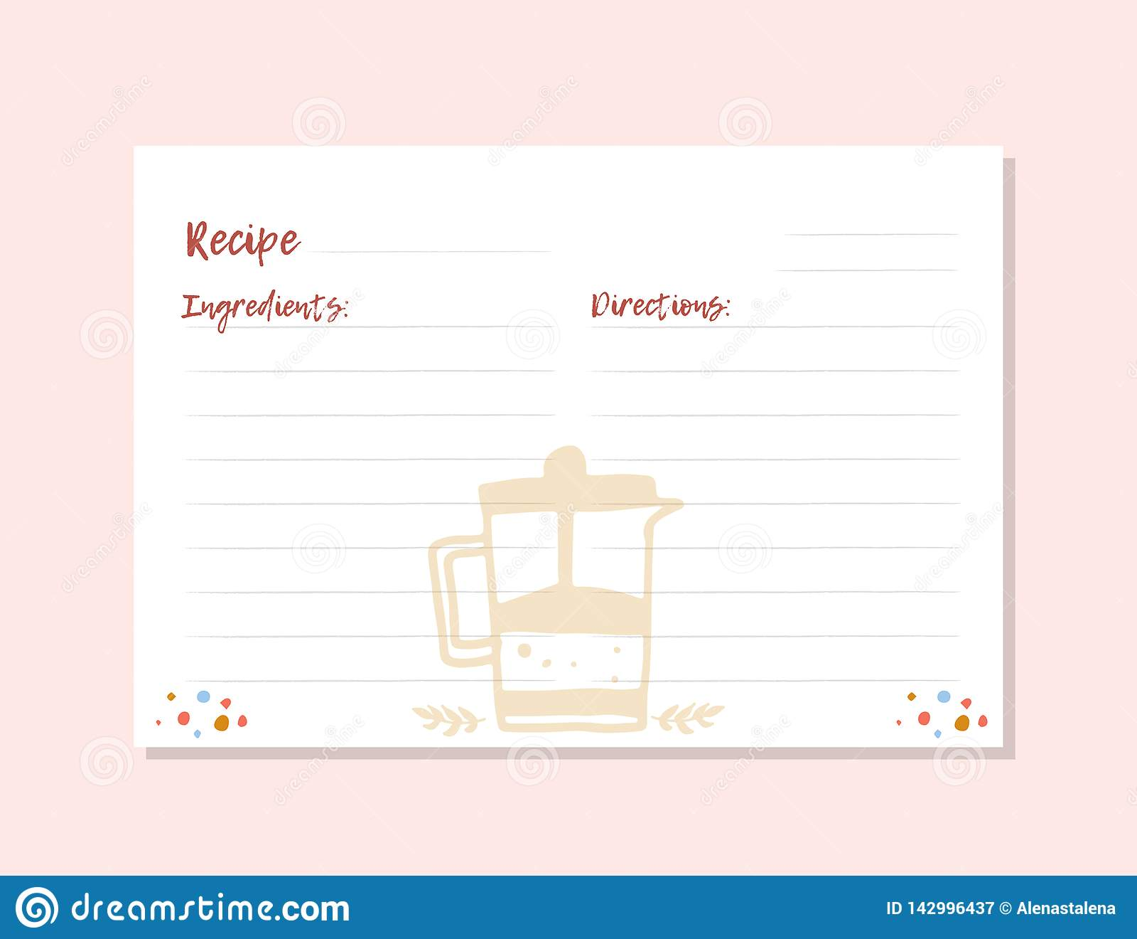 Modern Recipe Card Template For Instant Print Cookbook  A4