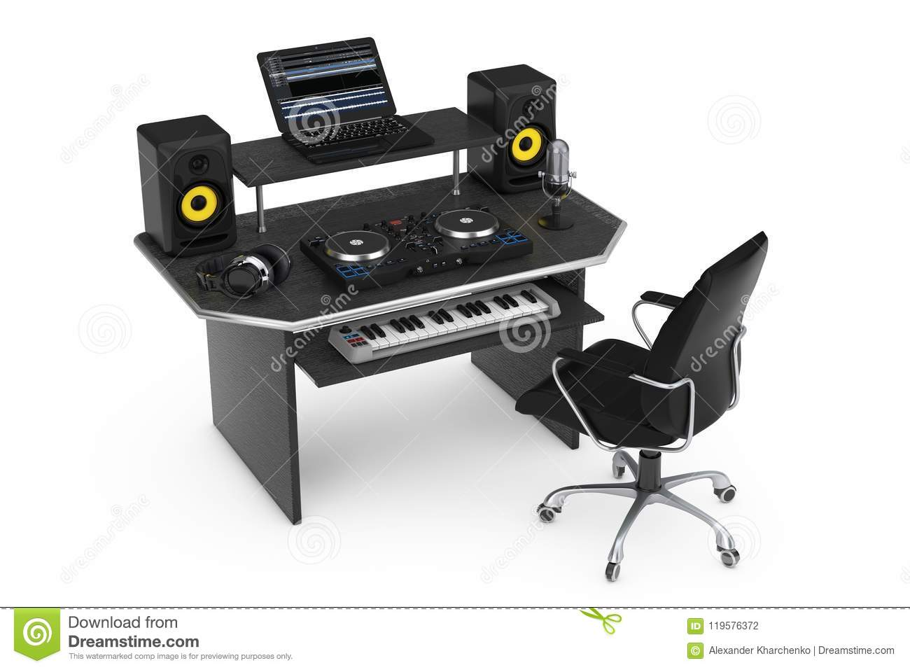 Modern Recording Music Home Studio With Electronic Equipment