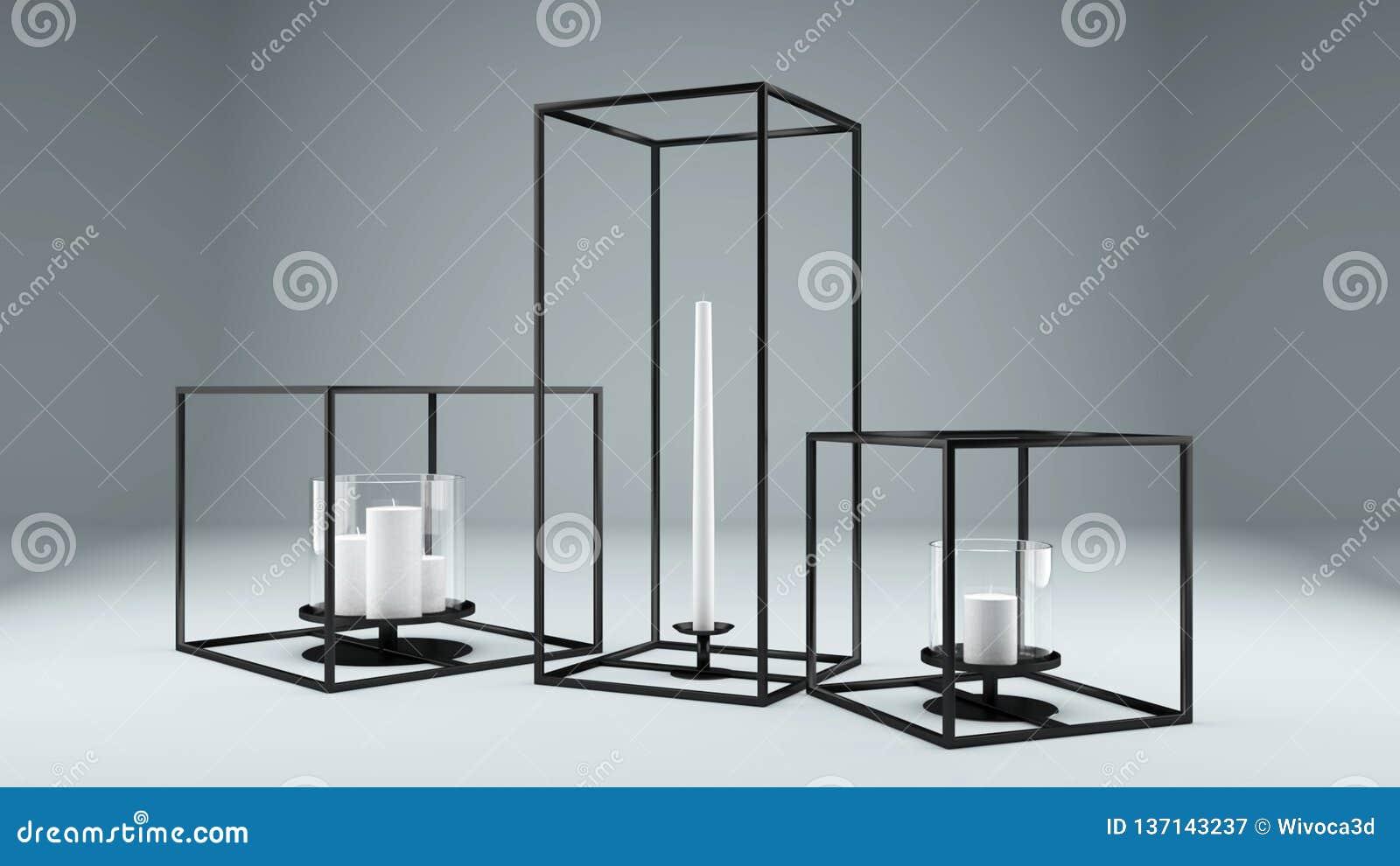 Picture of: Modern Rectangular Metal Framed Candle Holder Stock Illustration Illustration Of Rectangular Candle 137143237