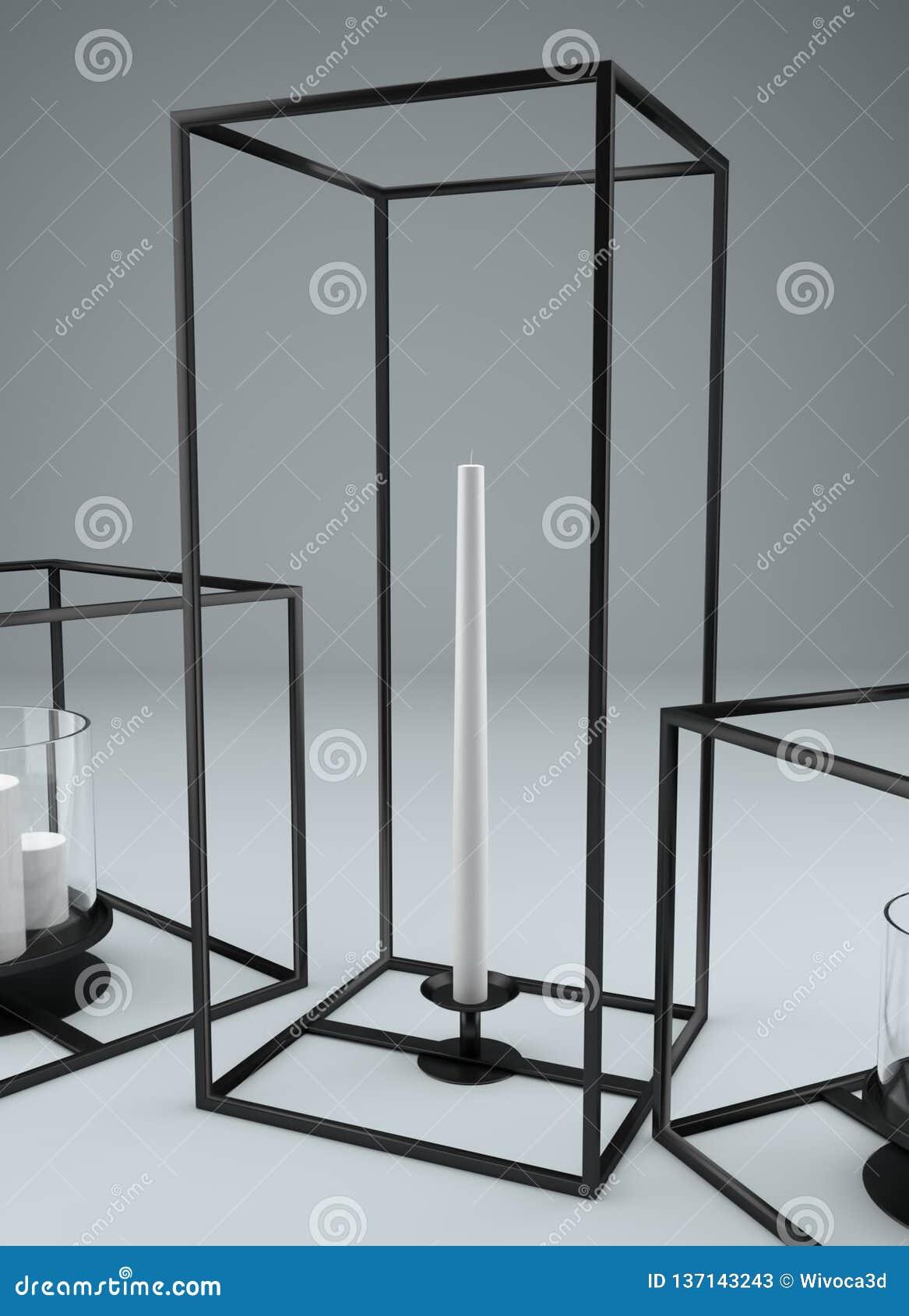 Picture of: Modern Rectangular Metal Framed Candle Holder Stock Illustration Illustration Of Modern Rectangular 137143243