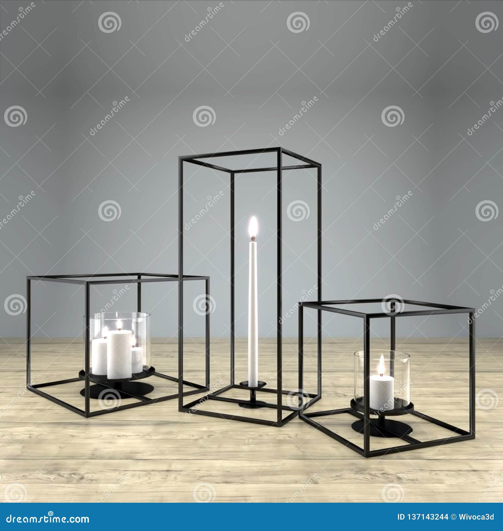 Picture of: Modern Rectangular Metal Framed Candle Holder Stock Illustration Illustration Of Decorative Cube 137143244