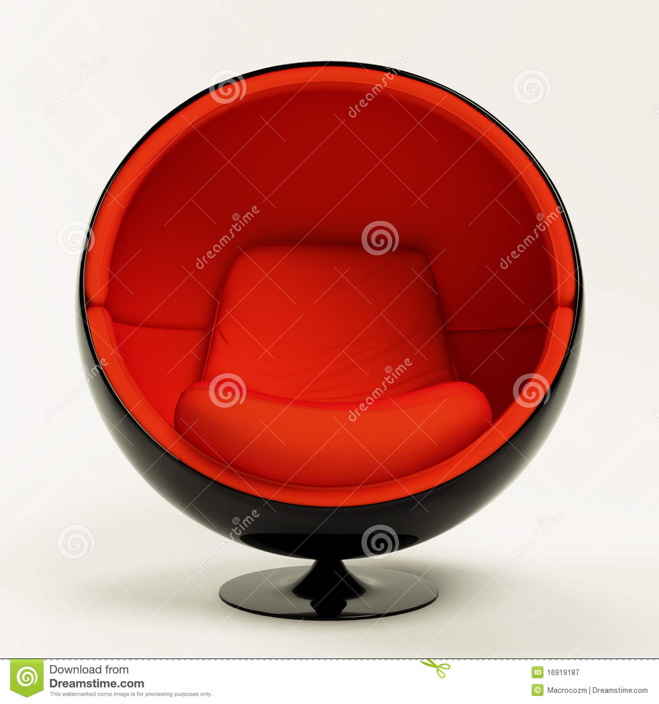 Modern Red Ball Chair Isolated On White Background Stock
