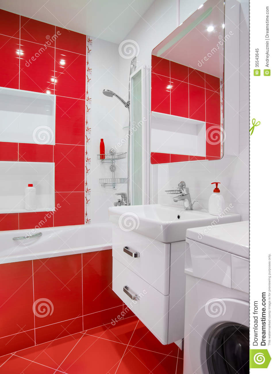 Modern Red Bathroom Interior With Mirror And Showe Stock