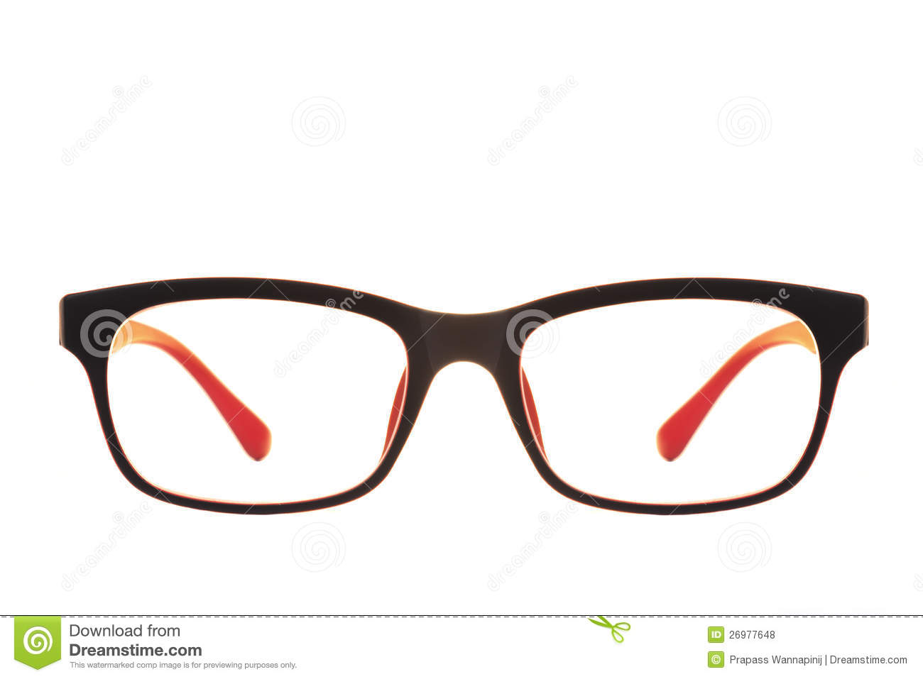 Modern red and black fashion eye glasses isolated