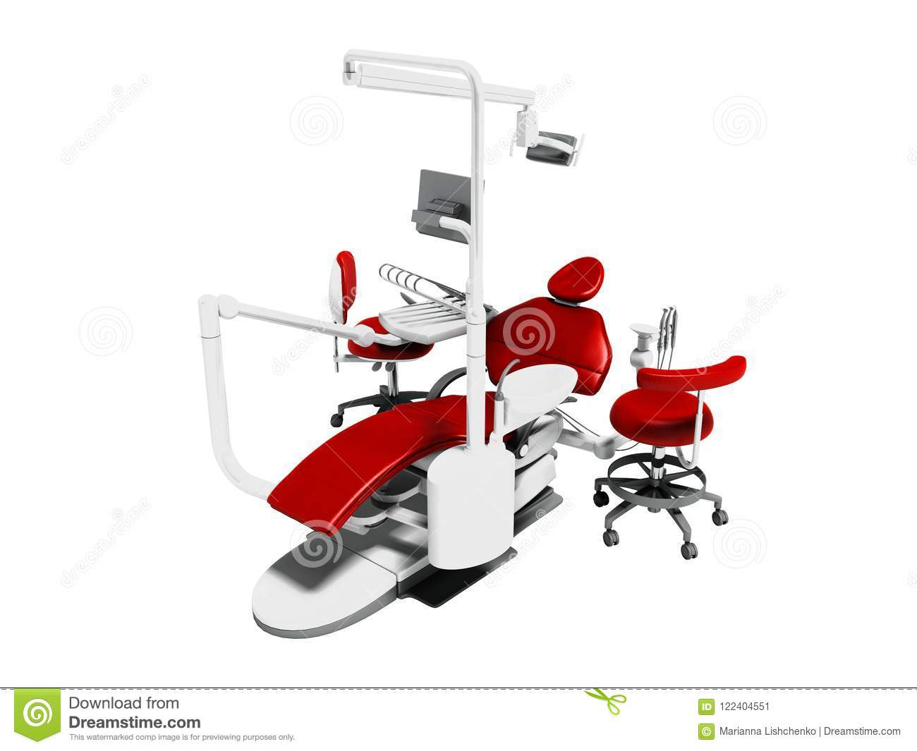 Surprising Modern Red Dental Chair With White Inserts With Monitor On Pdpeps Interior Chair Design Pdpepsorg