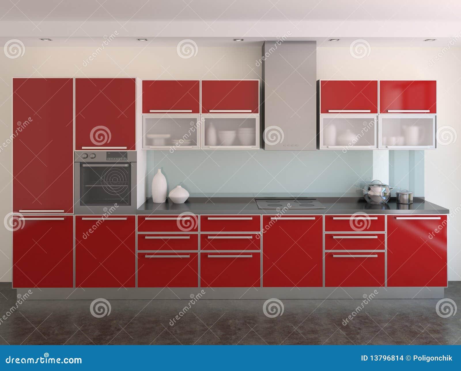 Modern red kitchen stock photo image of render interior 13796814 - Aardewerk rode keuken ...