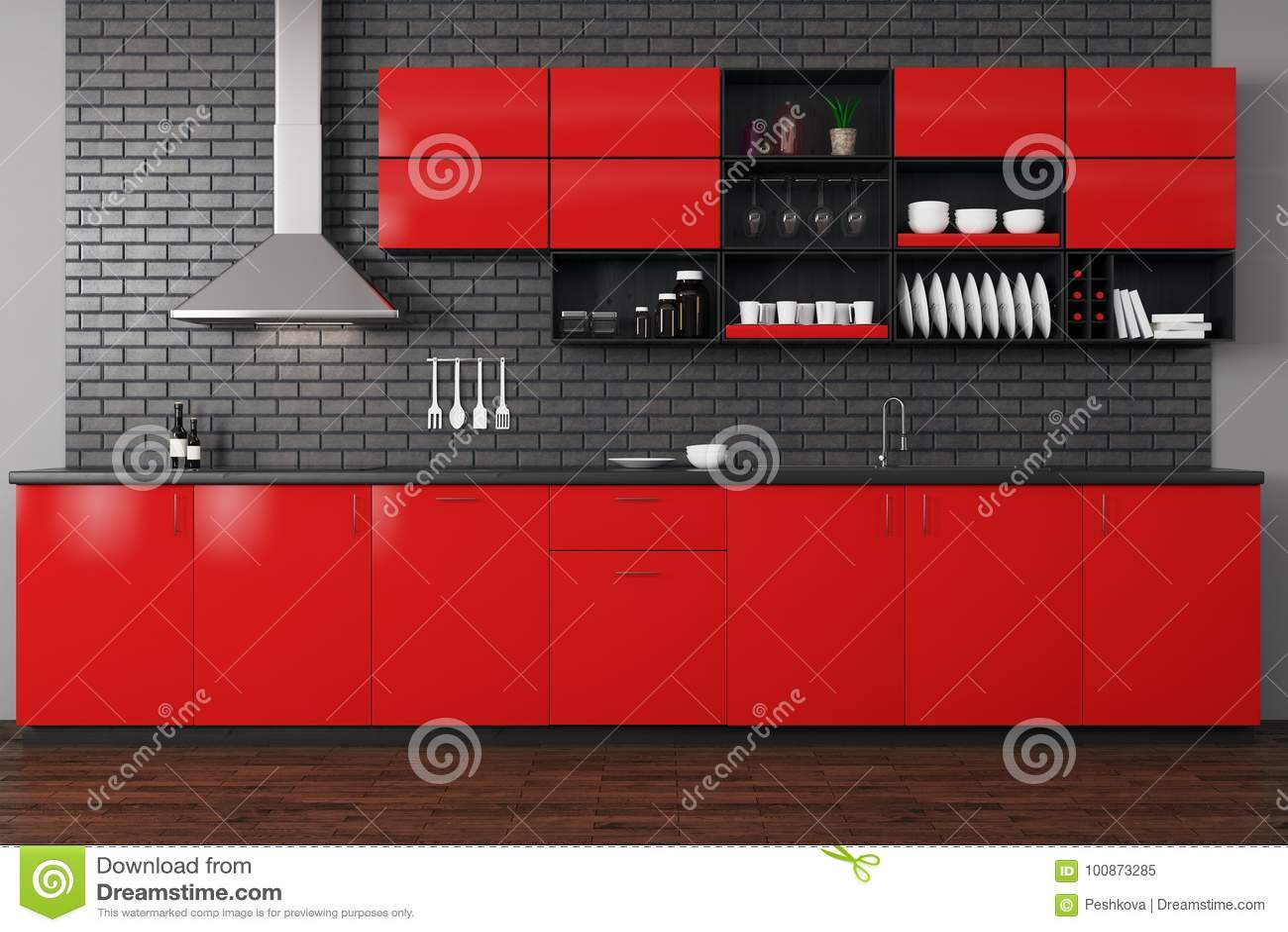 Modern red kitchen stock illustration. Illustration of brick