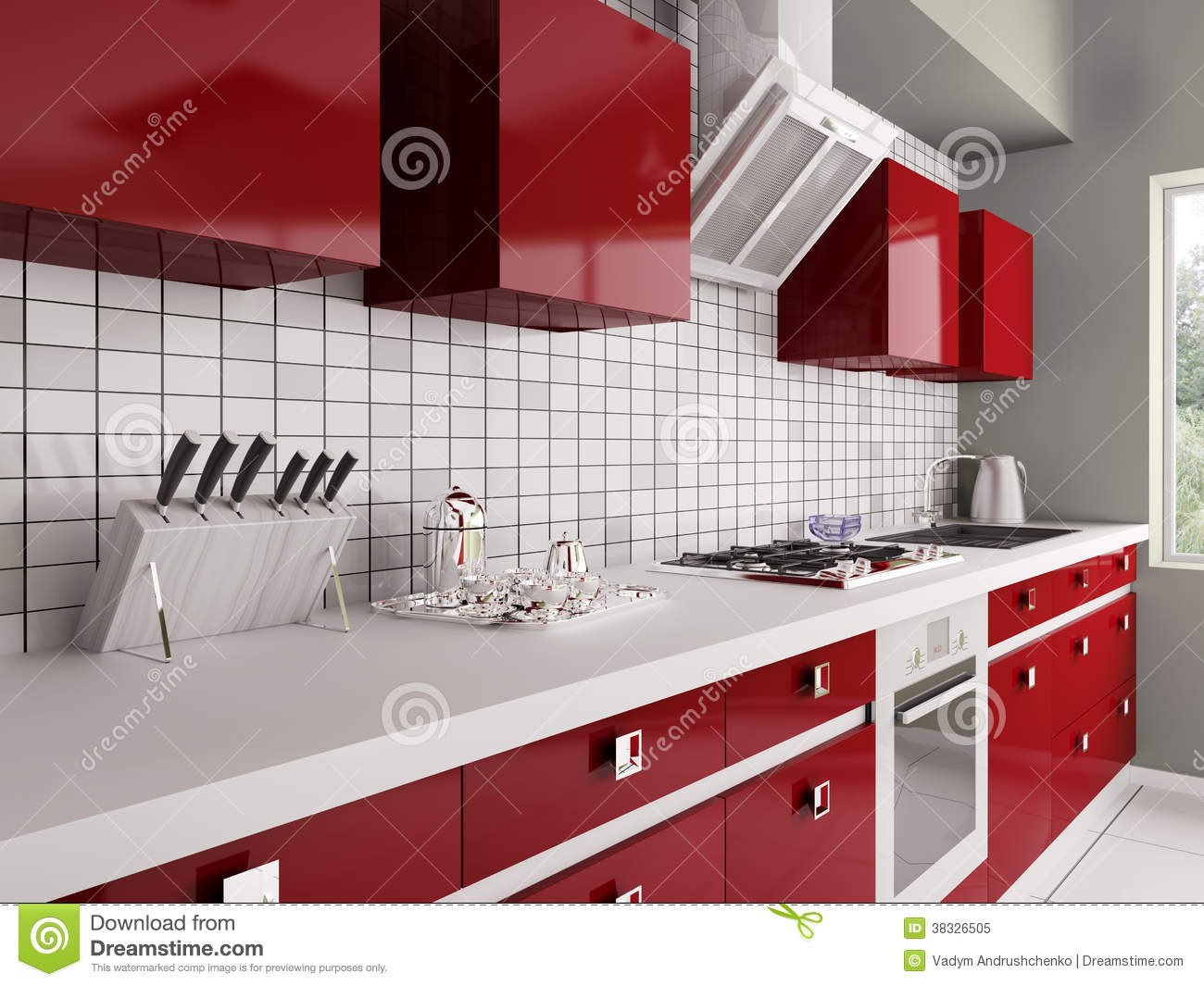 Modern red kitchen interior 3d stock illustration - Piastrelle cucina rosse ...