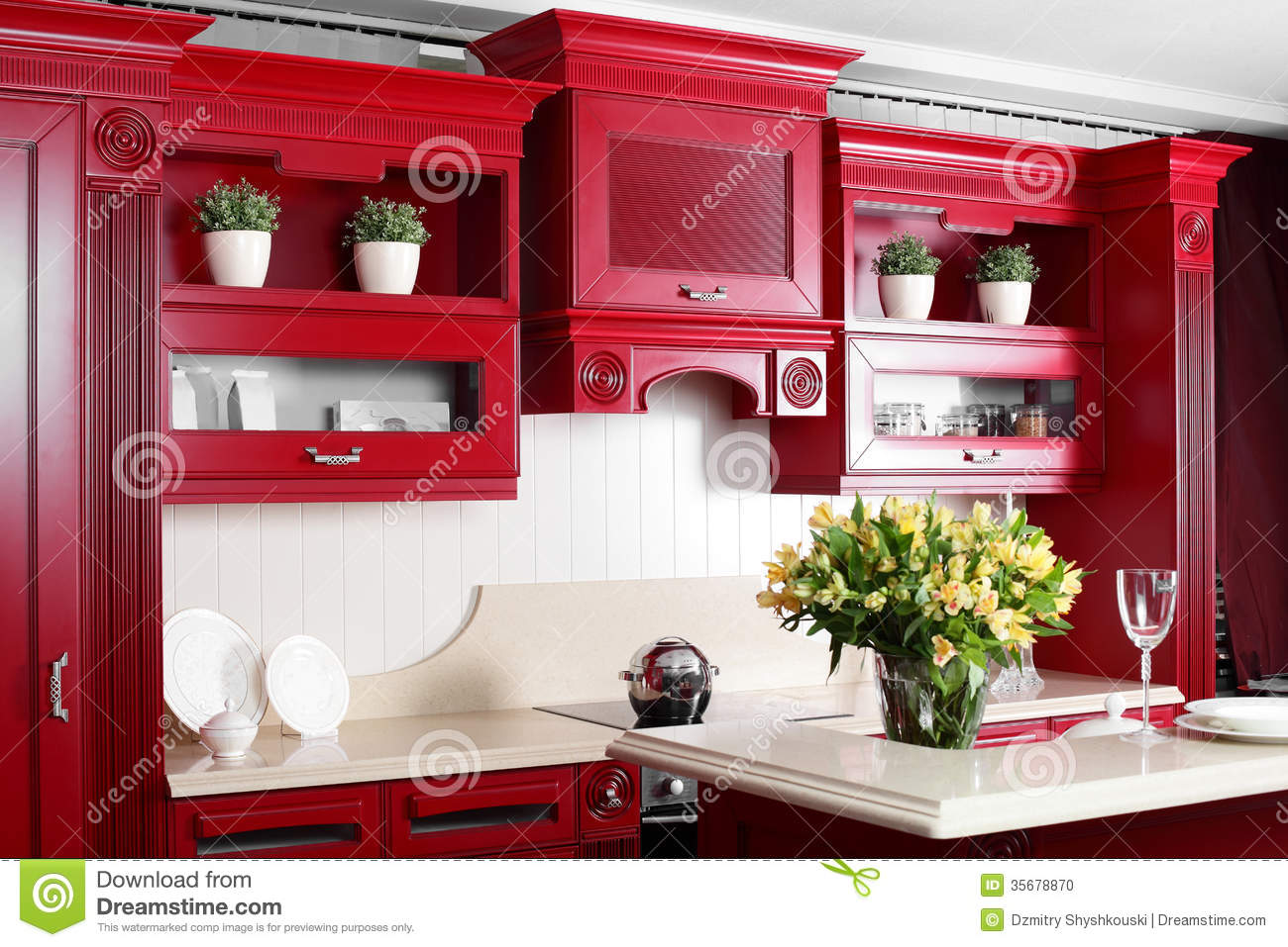 Red Kitchen Furniture Modern Red Kitchen With Stylish Furniture Stock Photo Image