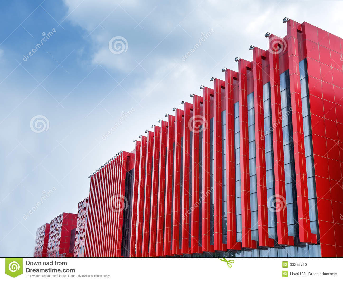 Modern red outer wall stock photo image of facade for Outer wall design architecture