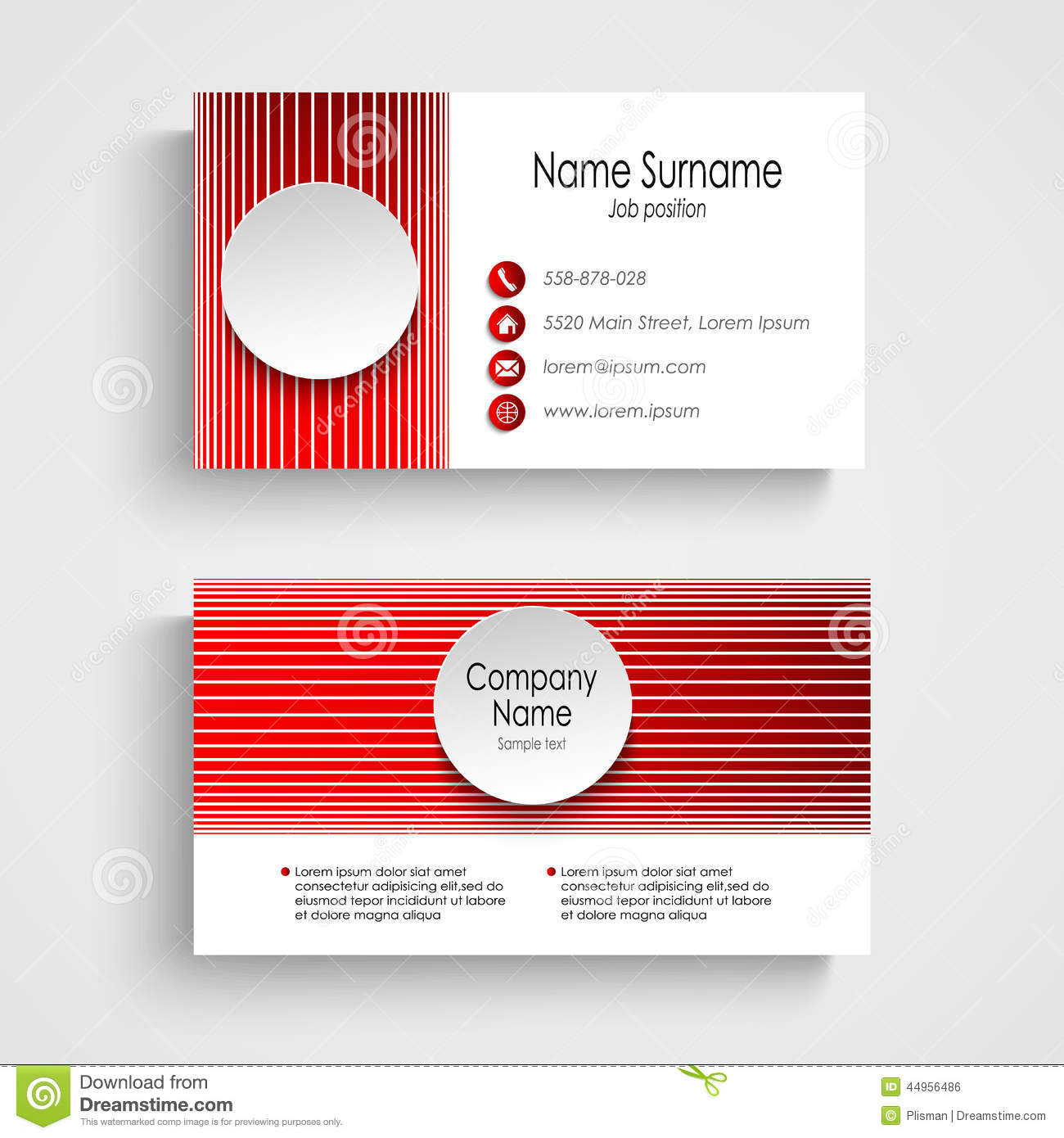 Modern red round business card template stock vector for Business card eps template