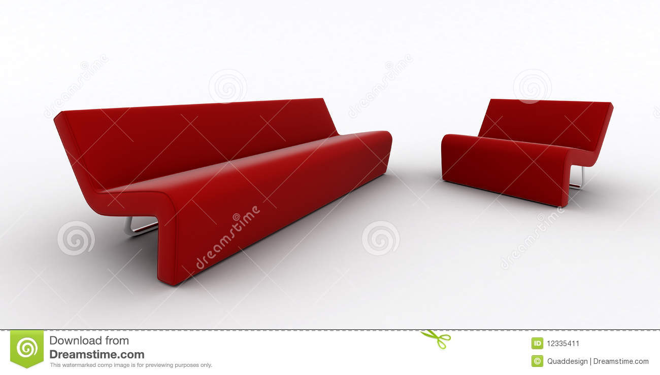 Modern Red Sofa And Armchair Stock Image Image 12335411