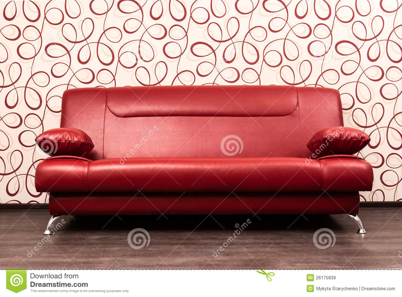 Modern Red Sofa In Front Of The Wall Stock Image Image 26175839