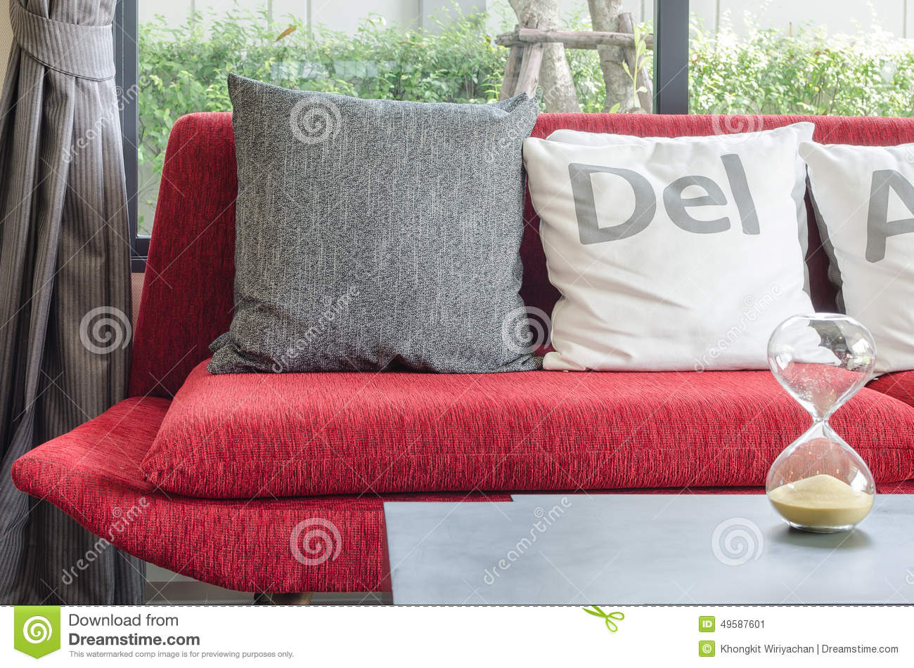 modern red sofa with pillows in living room stock photo  image  - modern red sofa with pillows in living room stock photo
