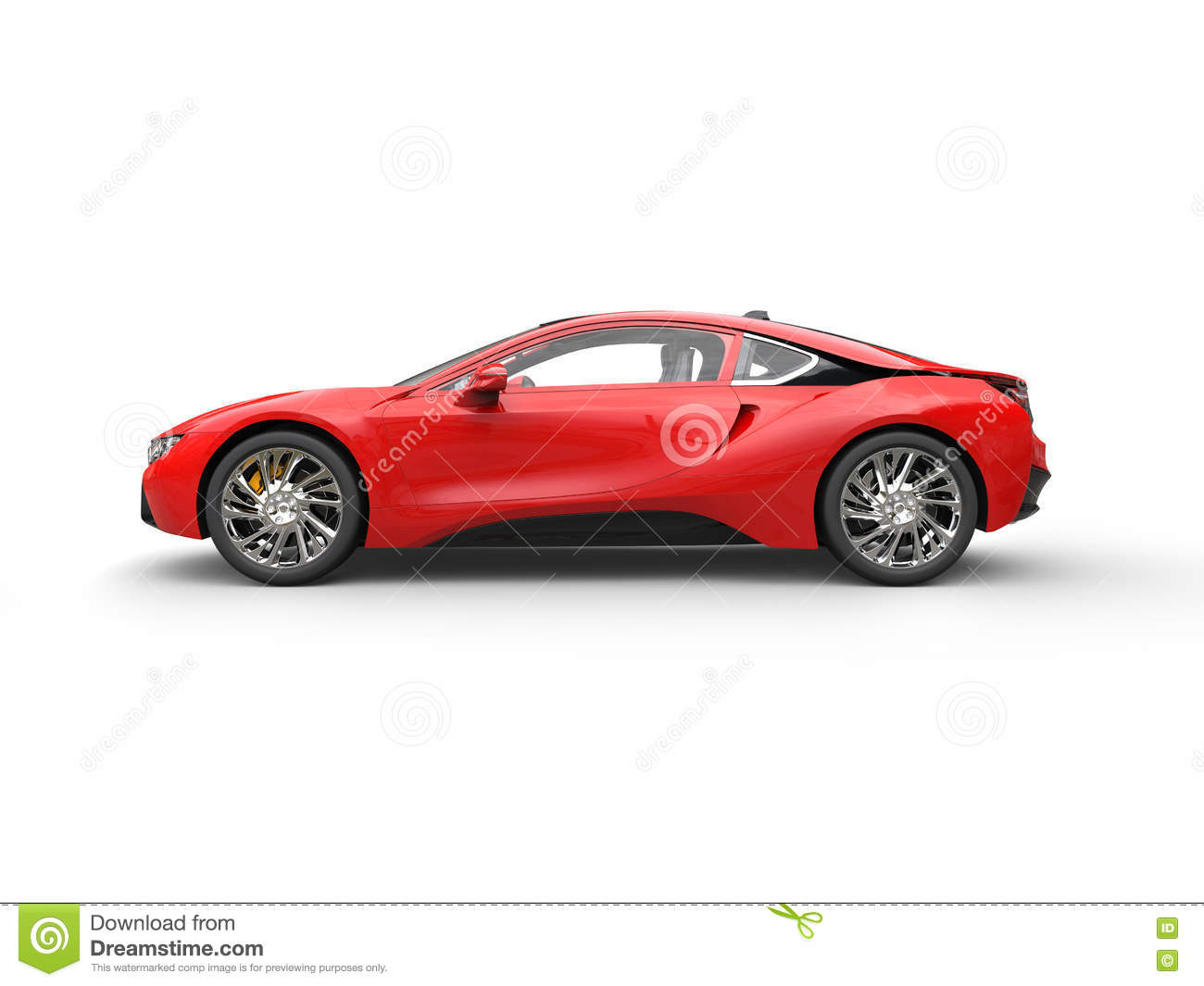 Modern Red Sports Car - Side View Stock Illustration ...