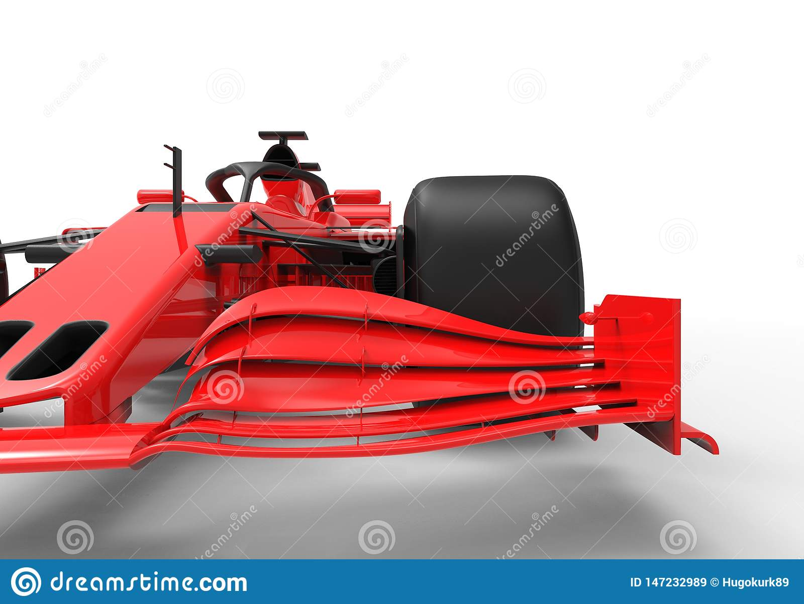 Modern red sports race car isolated