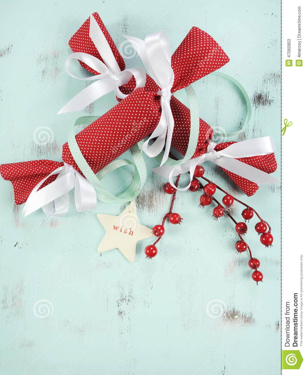 Download Modern Red And White Christmas Bon Bons On Aqua Blue Wood Background Vertical Closeup