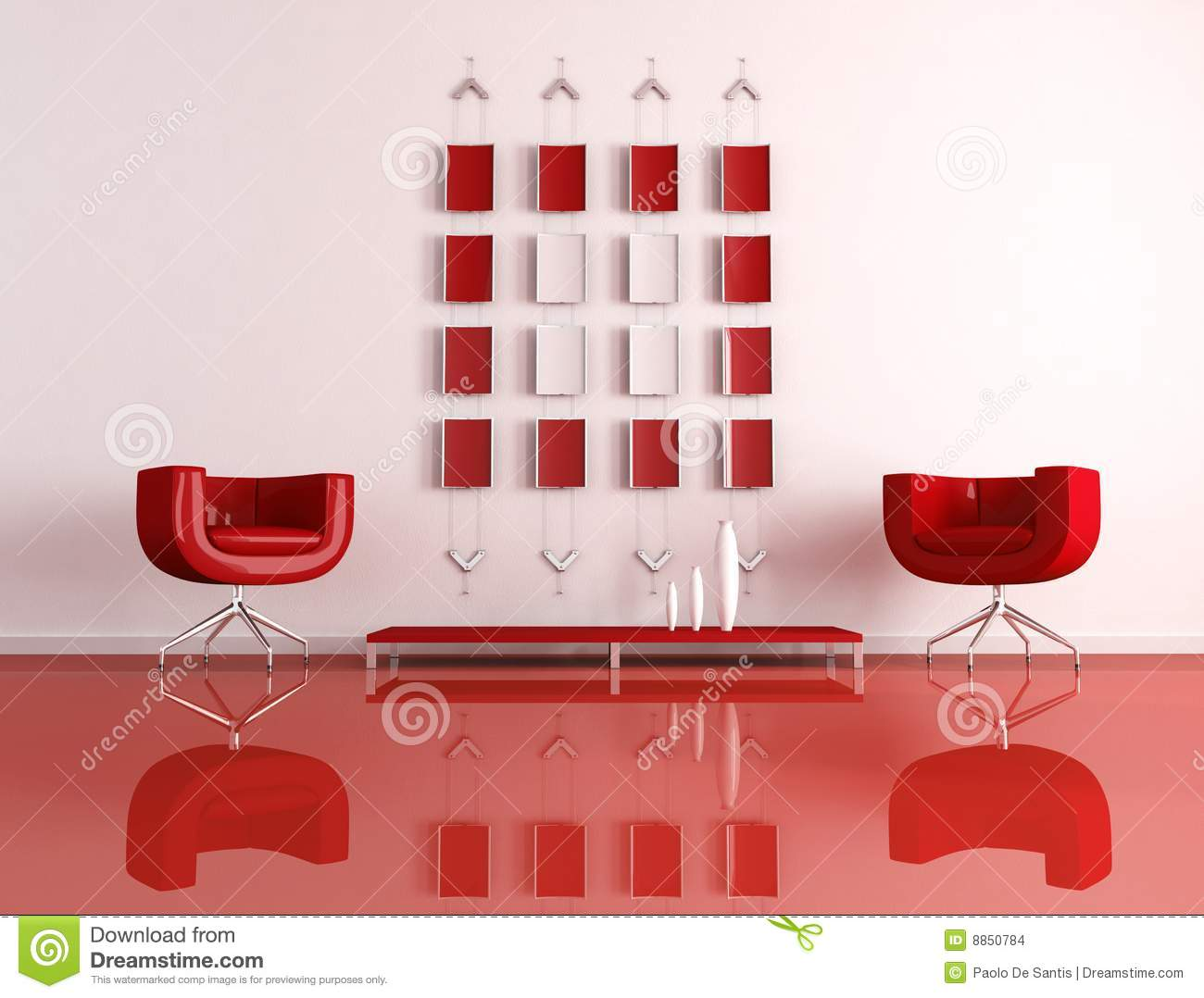 Modern Red And White Interior Stock Images Image 8850784