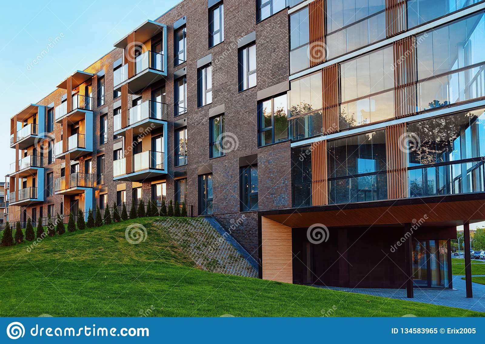 Modern Residential Apartment Building Exterior With Garage ...