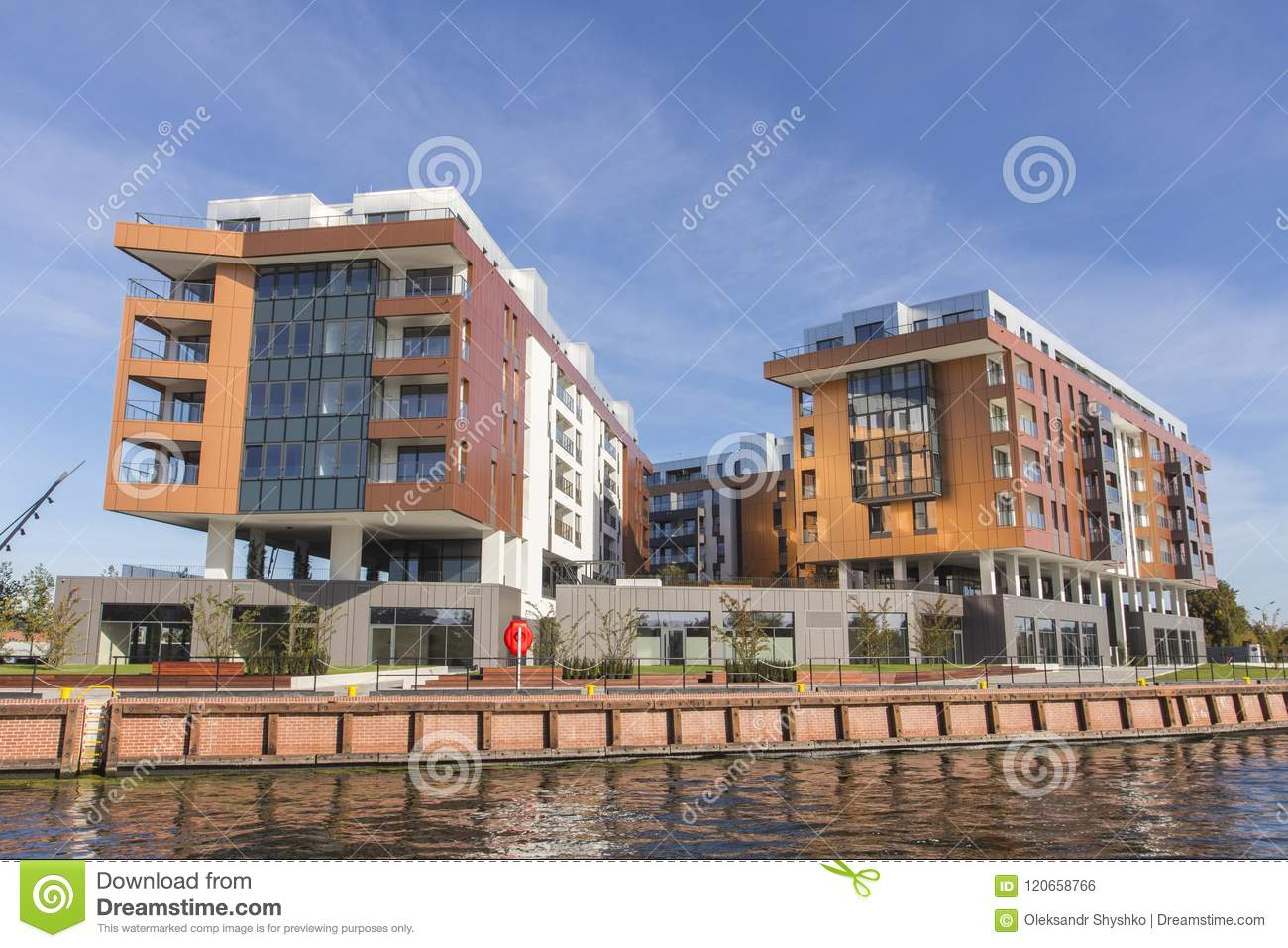 Modern residential buildings on the banks of the river in Gdansk. Poland