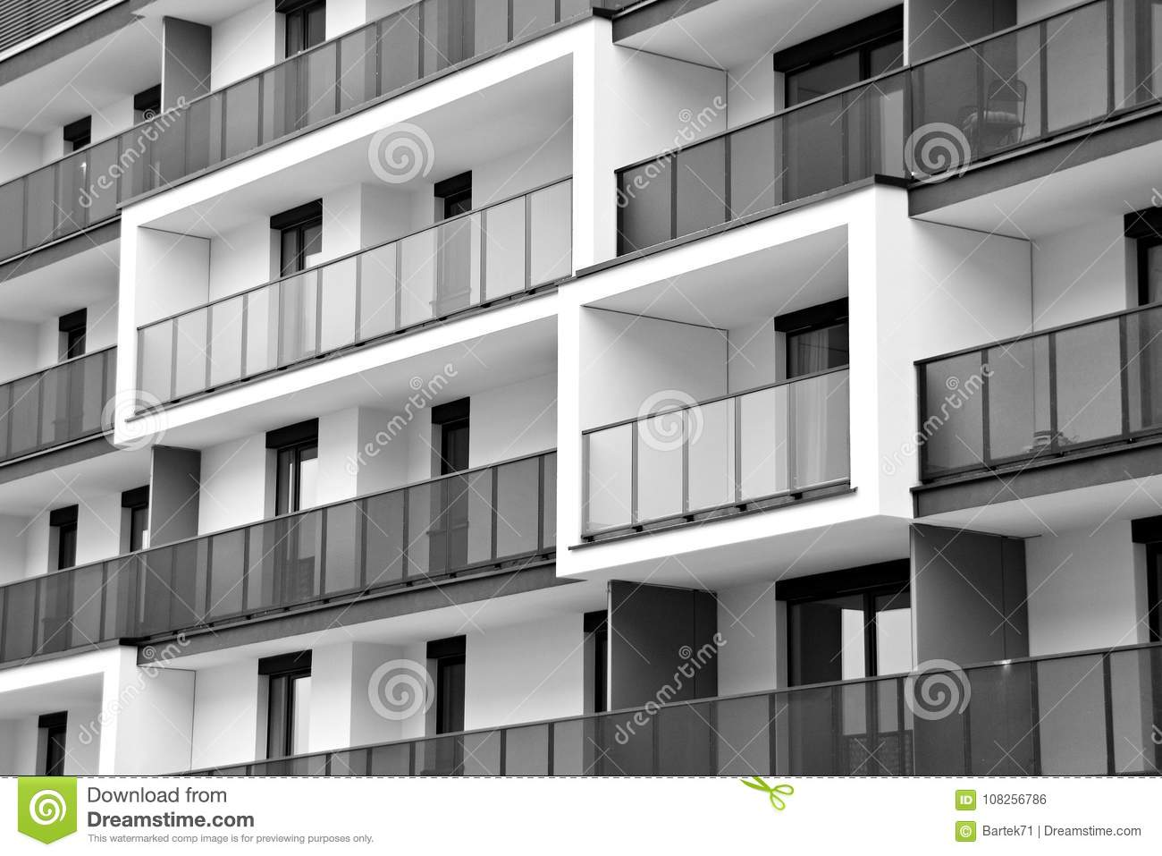 Download Modern Apartment Buildings. Facade Of A Modern Apartment Building.  Black And White.