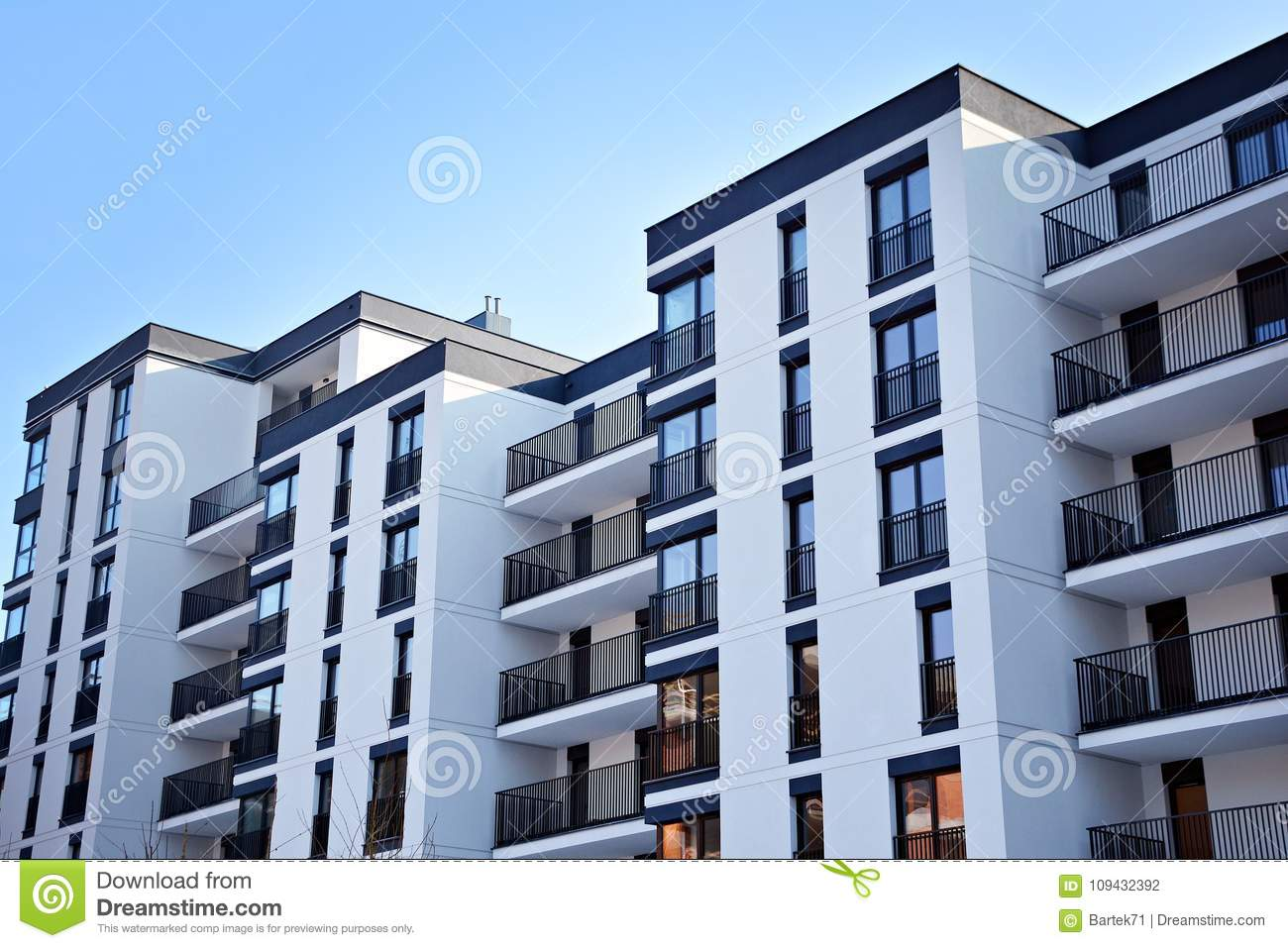 Facade Of A Modern Apartment Building Stock Photo - Image of ...