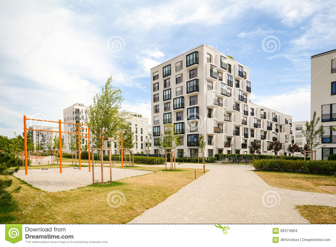 Modern Residential Buildings With Outdoor Facilities And: modern residential towers