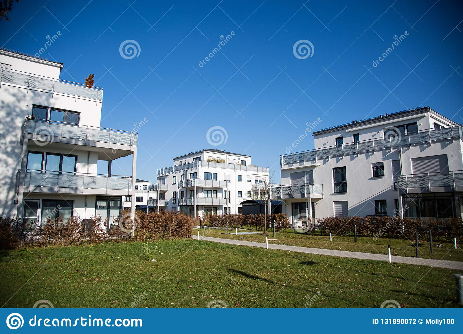 Modern residential complex in Germany, blue sky stock photography