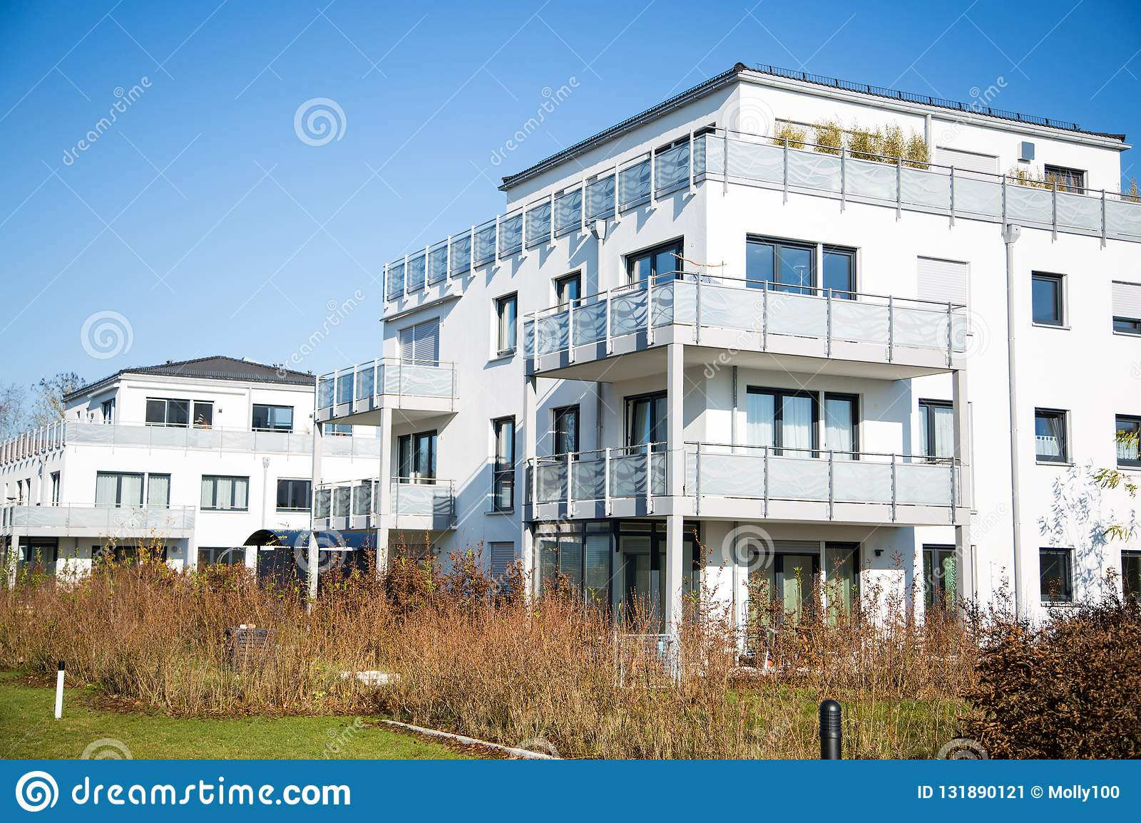 Modern residential complex in Germany, blue sky stock image