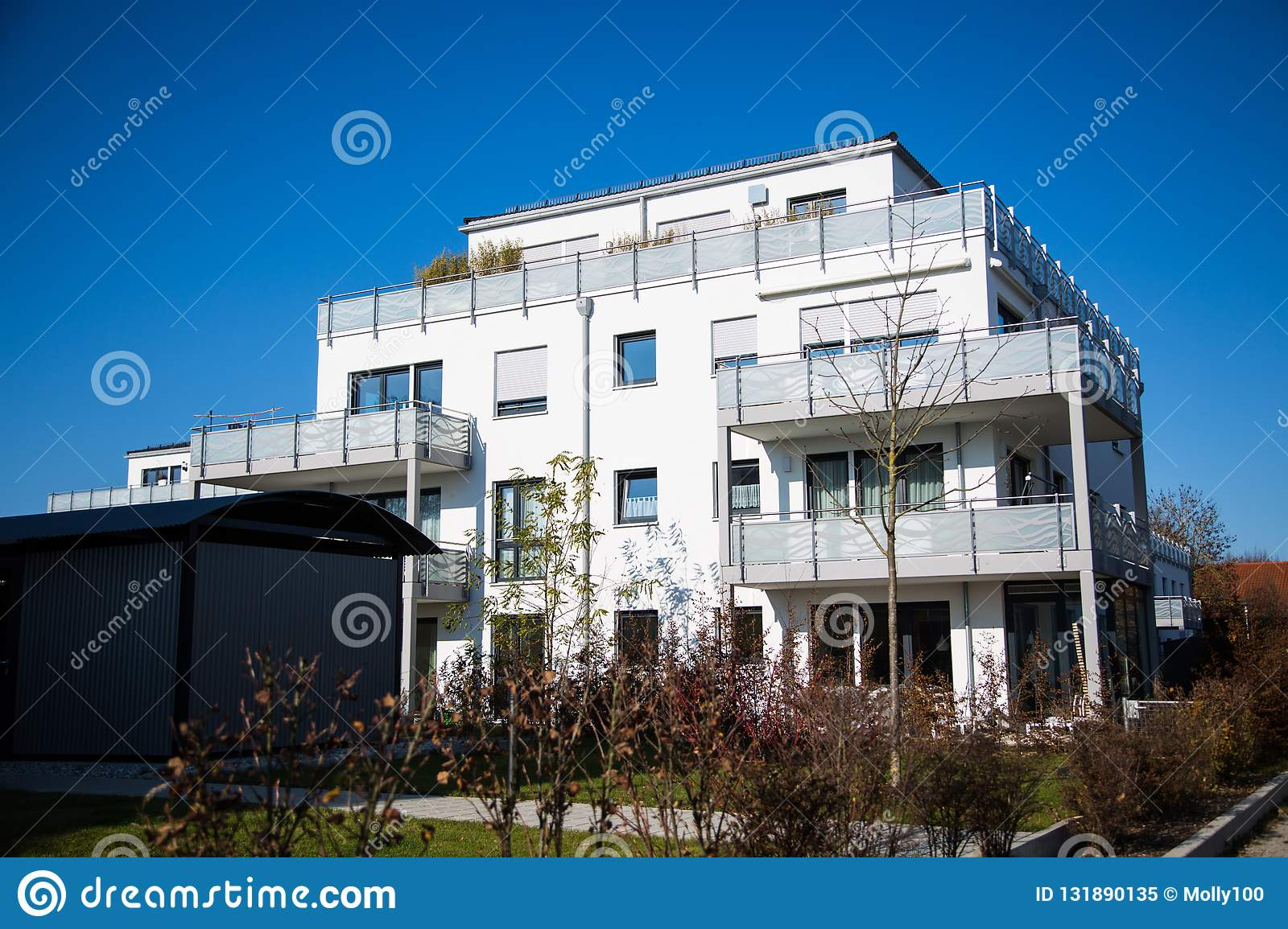 Modern residential complex in Germany, blue sky royalty free stock photo