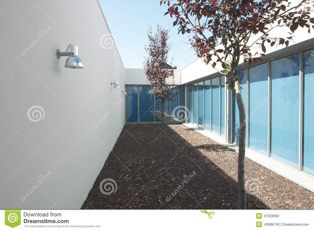 Modern residential house with patio and trees stock photo for Modern residential house