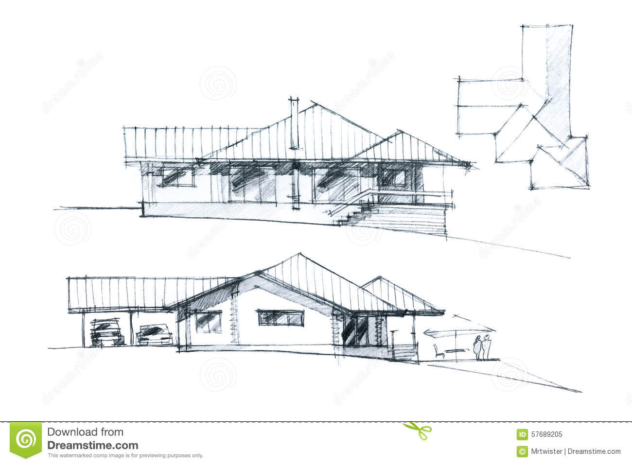 Modern Residential Place Exterior Sketch Stock Image