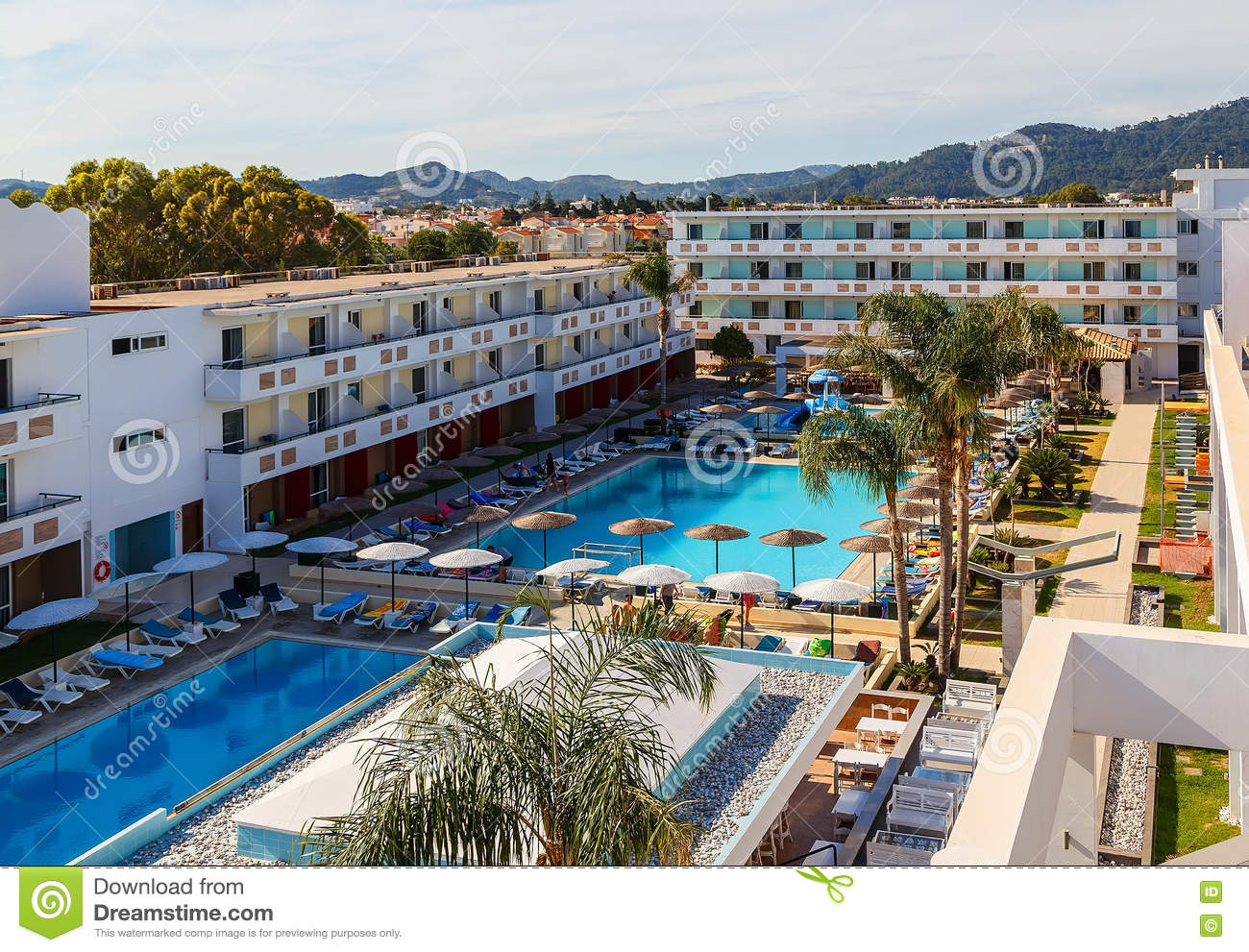 Modern Resort Hotel Greece Rhodes On Aegean Sea Stock Photo