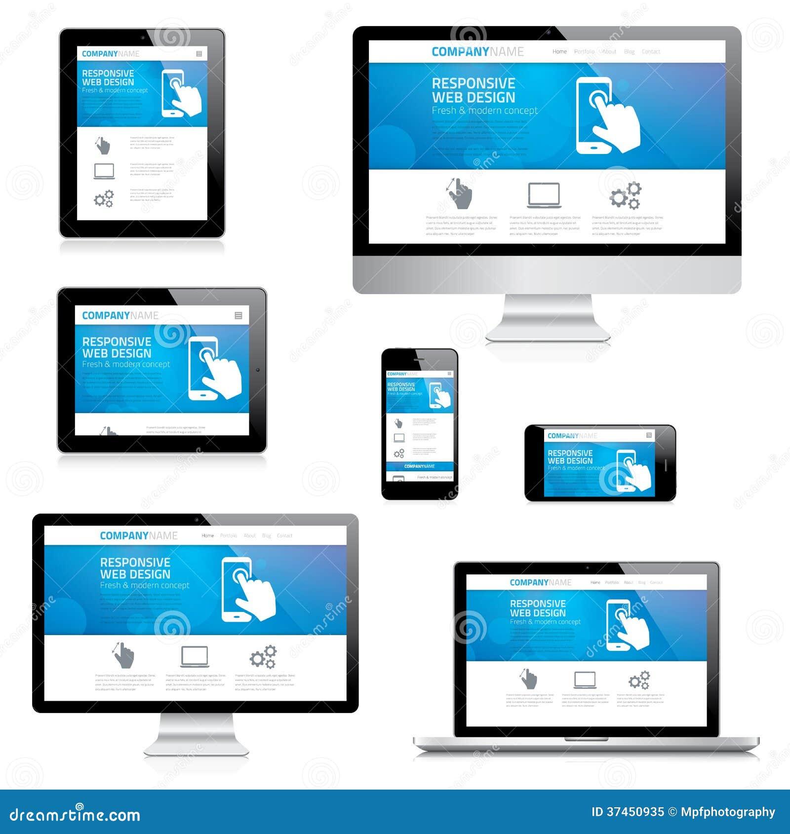 Modern Responsive Web Design Computer, Laptop, Tab Stock Vector ...