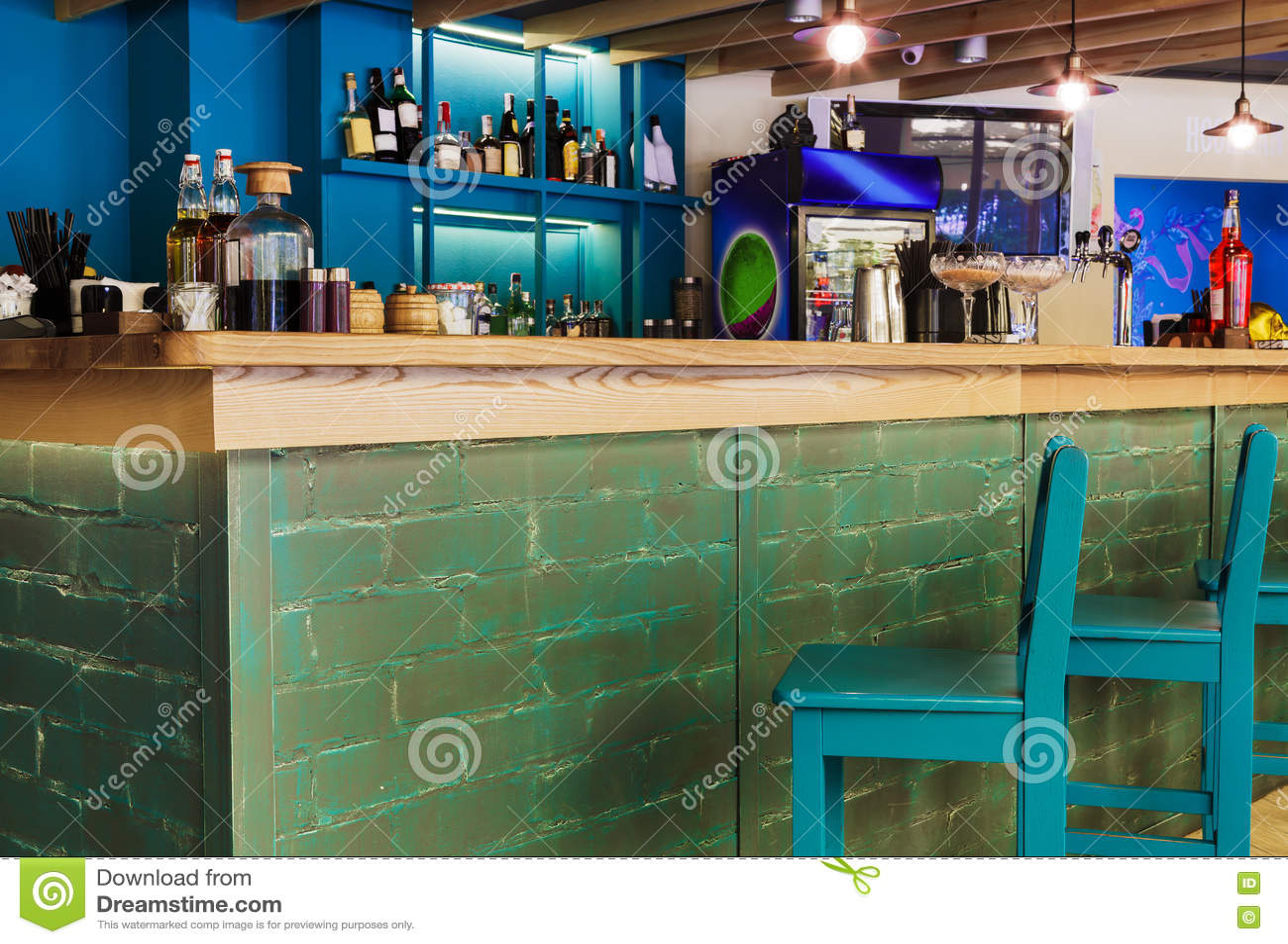 Modern Restaurant Bar Or Cafe Interior Stock Image Image Of Desk Cafeteria 79718567
