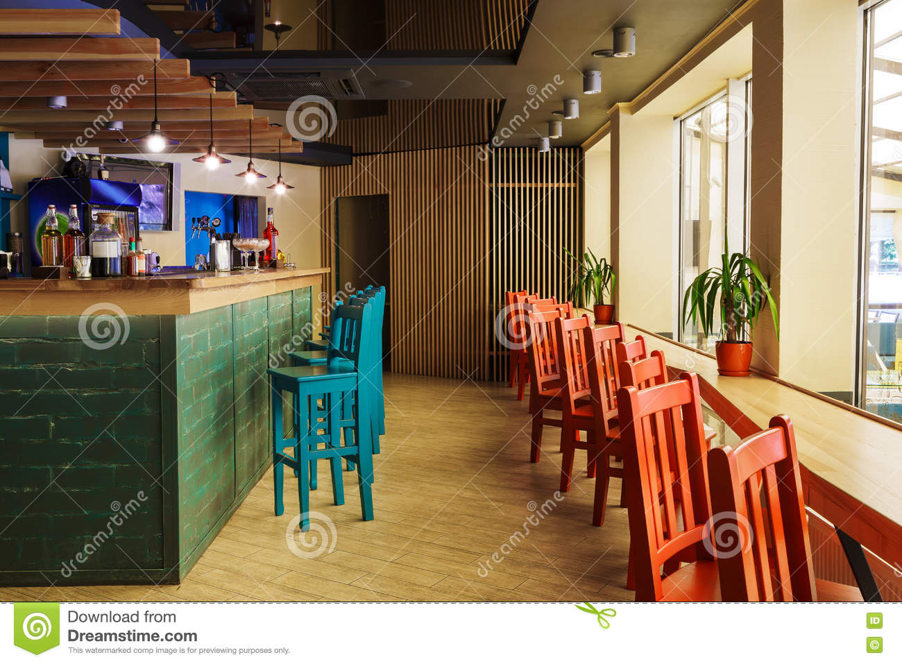 Modern Restaurant Bar Or Cafe Interior Stock Image