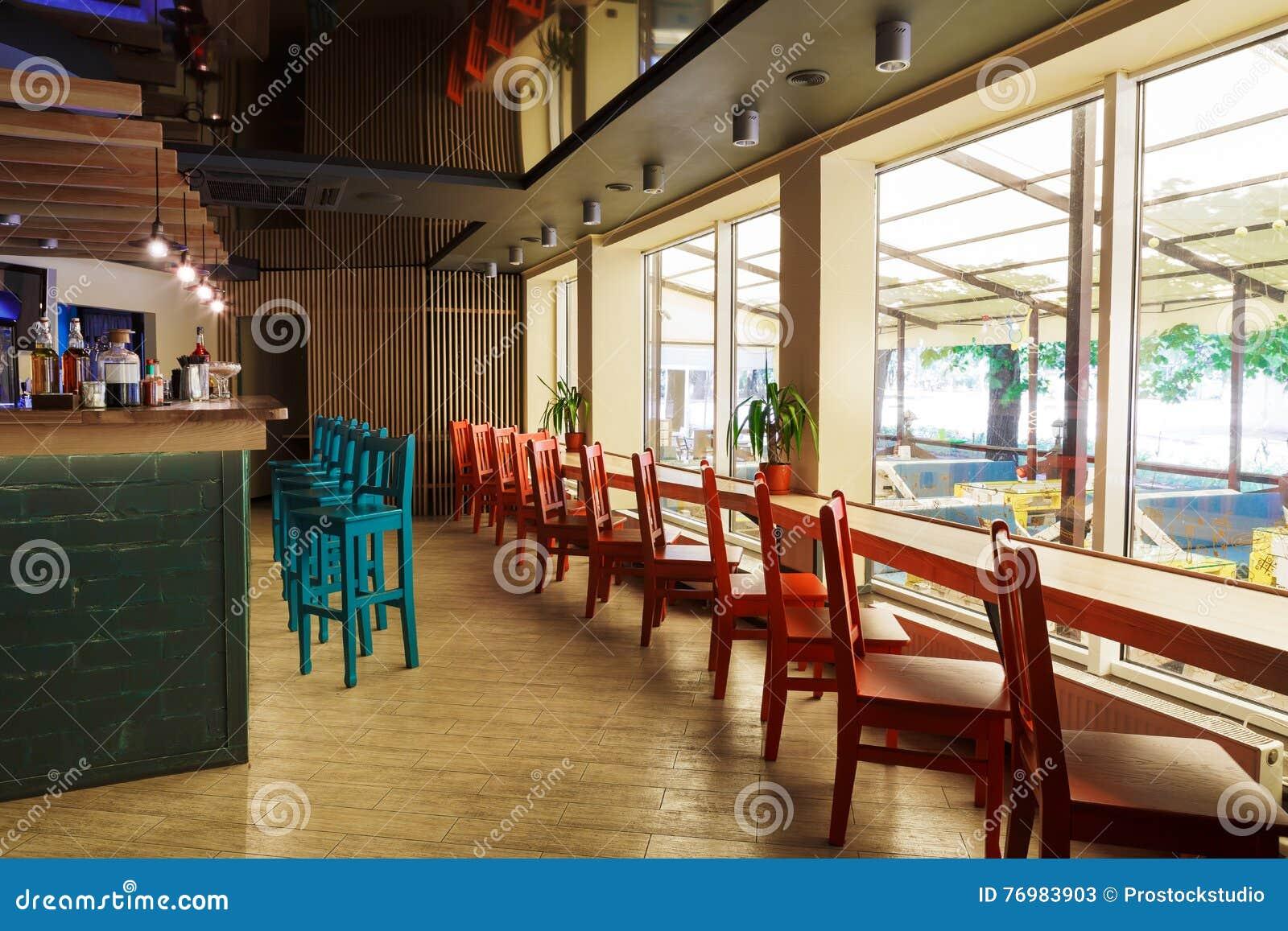 Modern Restaurant Bar Or Cafe Interior Stock Image Image Of Hotel Atmosphere 76983903