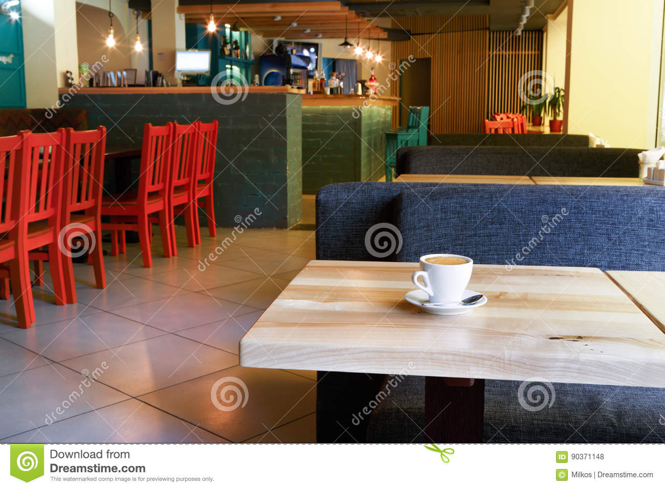 Modern Restaurant Bar Or Cafe Interior Stock Photo Image Of Lamp Architecture 90371148