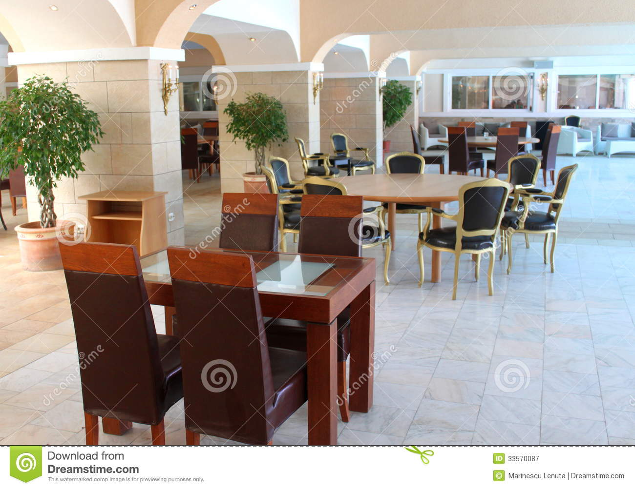 Modern restaurant furniture royalty free stock photography