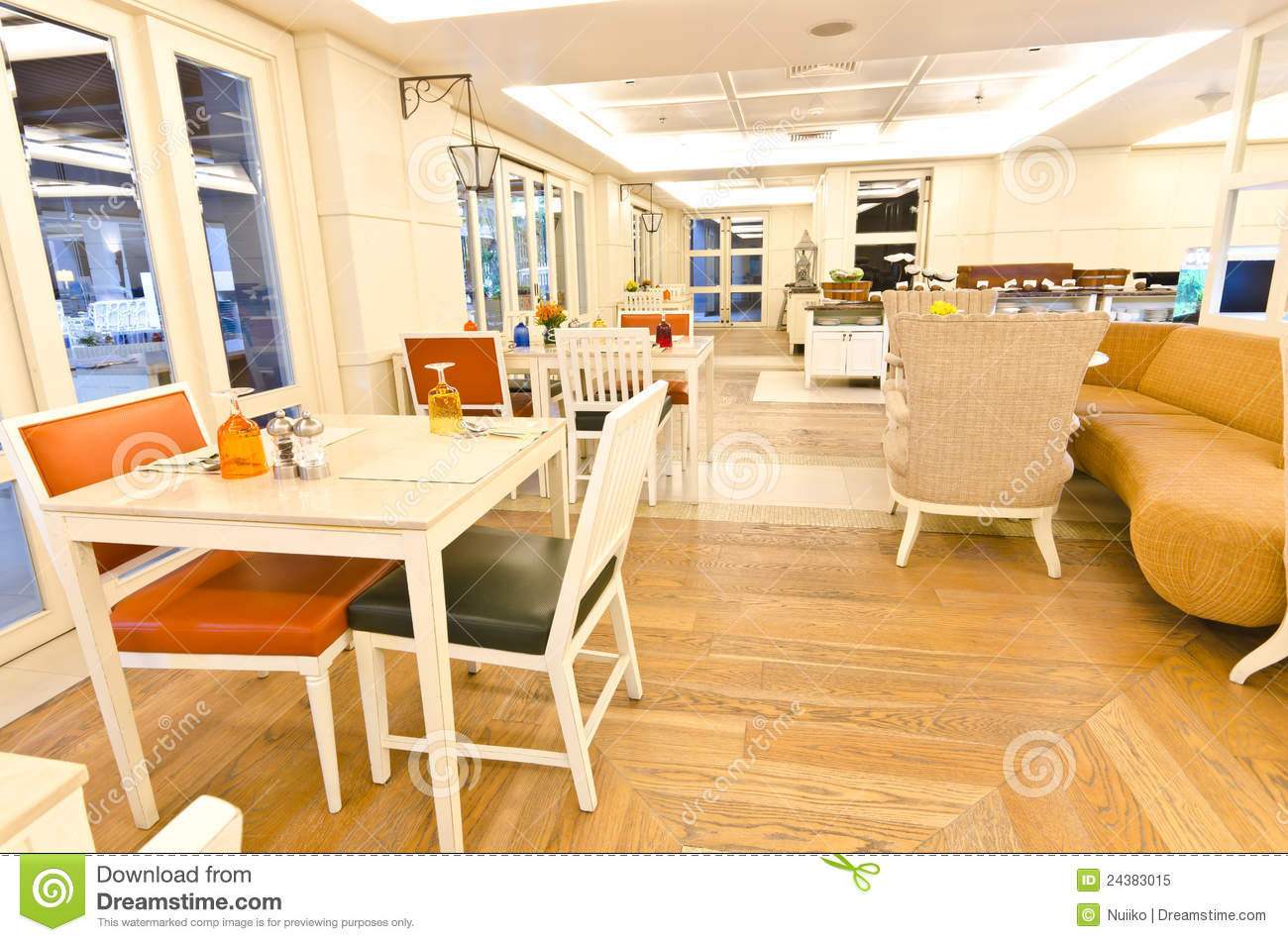 Modern restaurant interior royalty free stock photo
