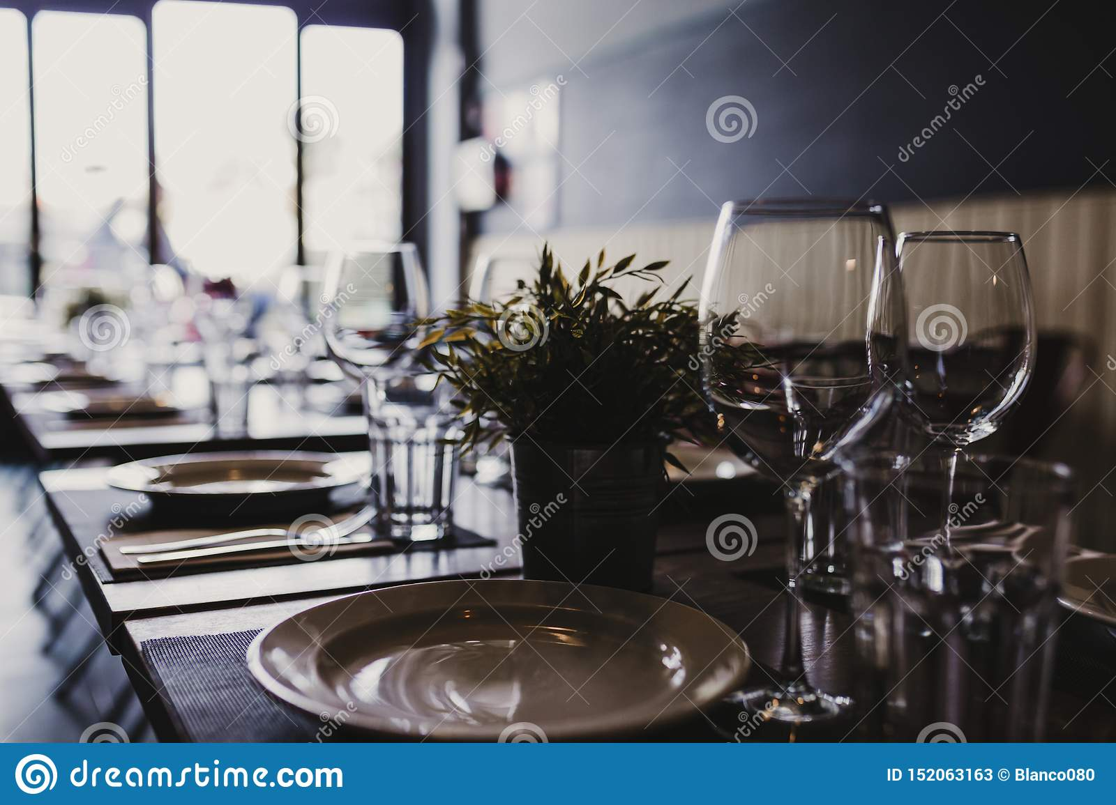 Modern Restaurant Interior Daytime Food And Drink Industry Concept Stock Image Image Of Dining Cutlery 152063163
