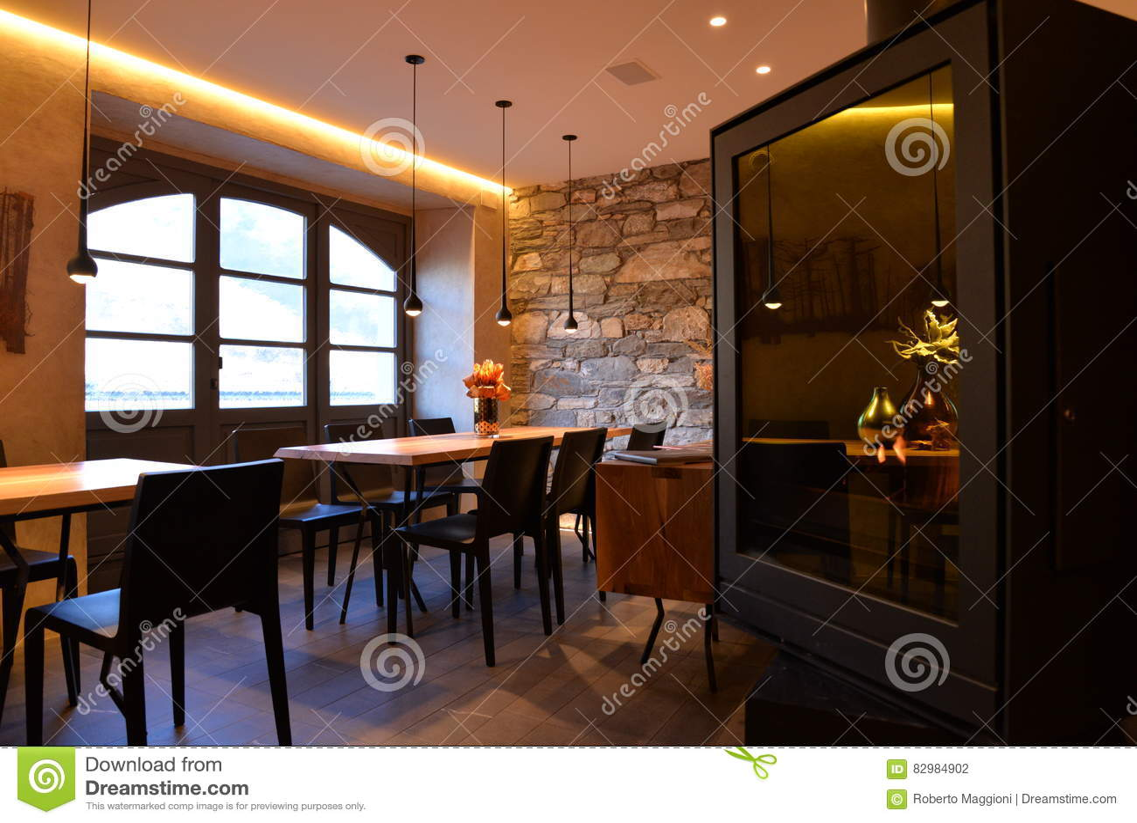 modern restaurant interior design stylish dining room stock photo image 82984902. Black Bedroom Furniture Sets. Home Design Ideas