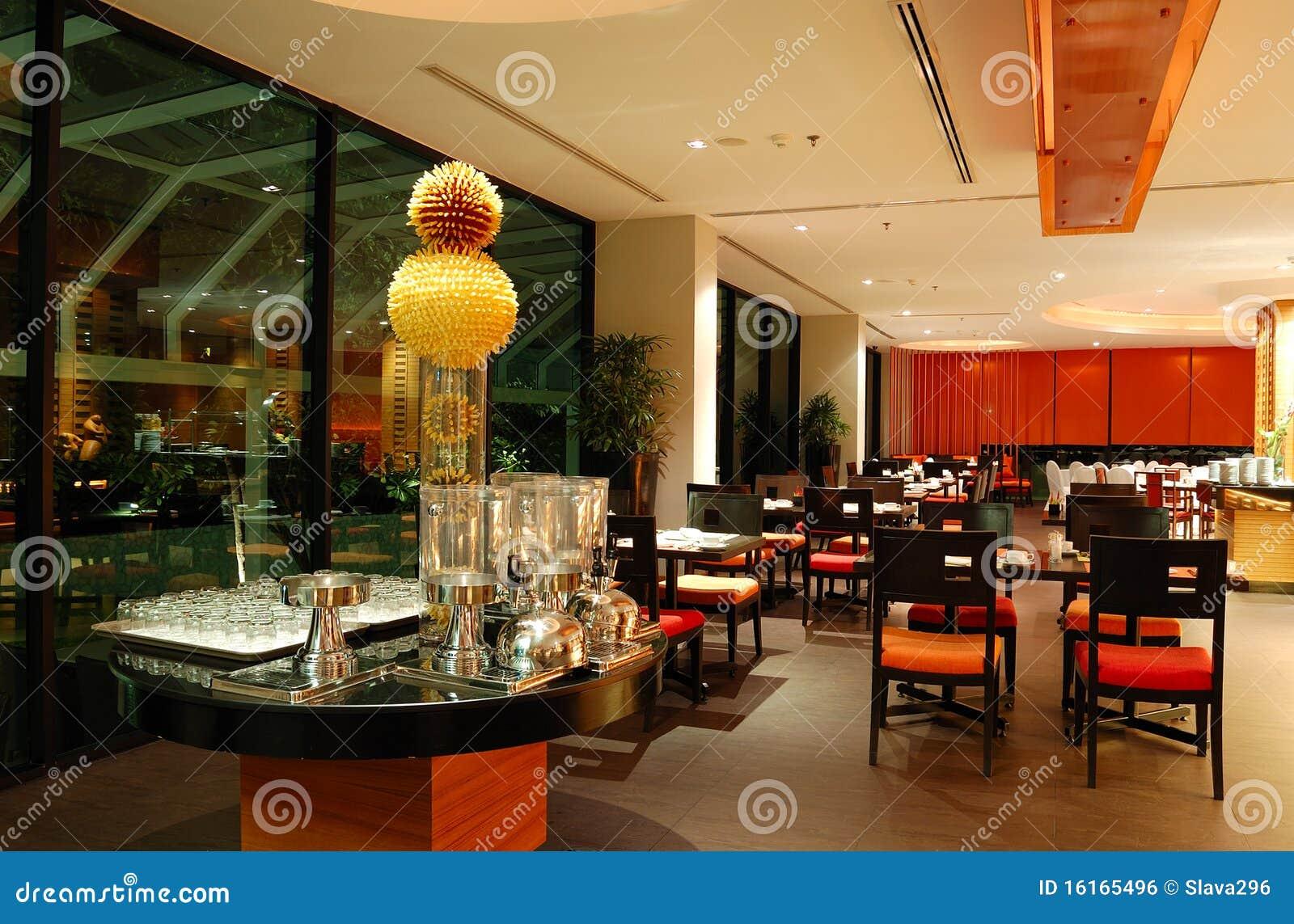 Night restaurant interior stock photo cartoondealer