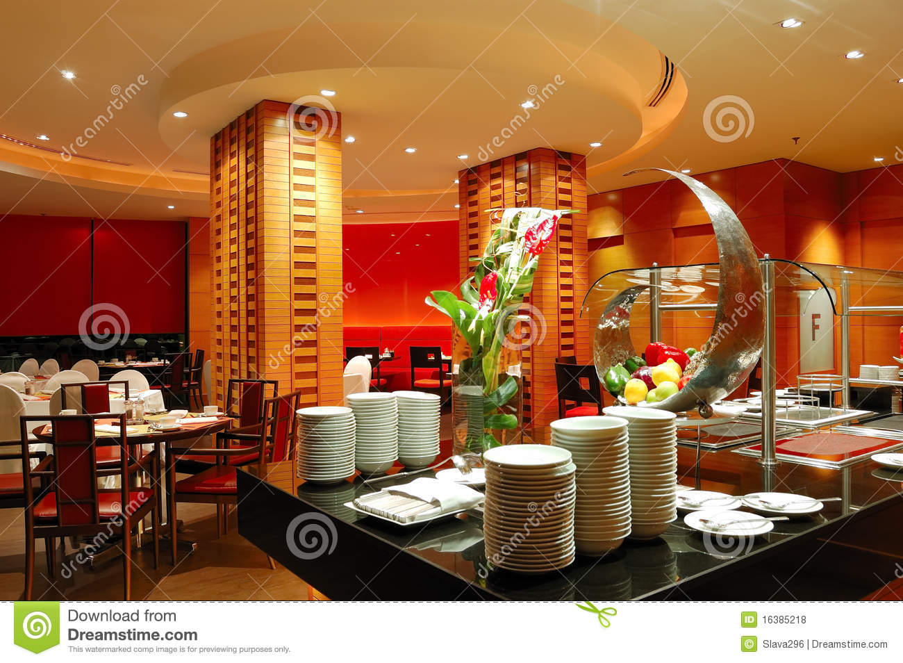 Modern restaurant interior in night illumination stock