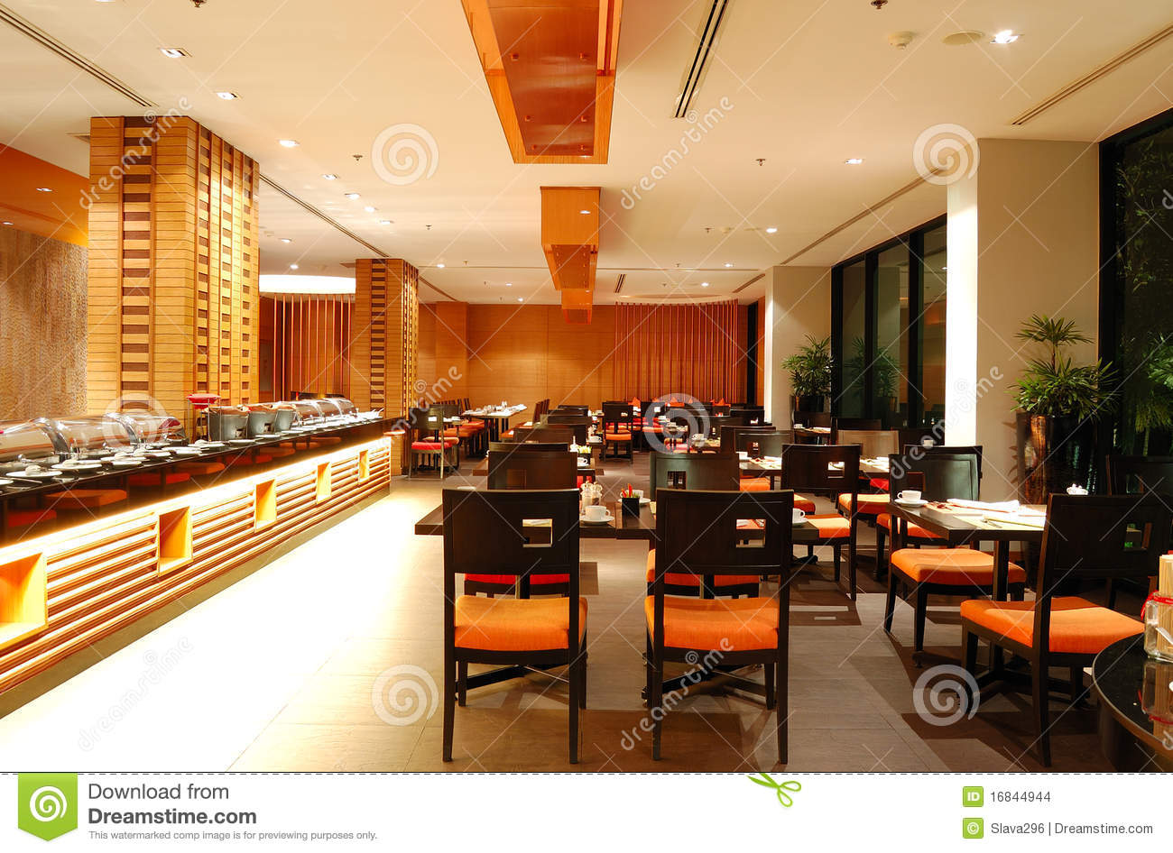 Night restaurant interior stock photo for Decoracion de restaurantes rusticos
