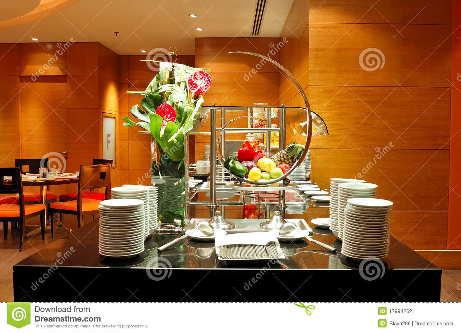 Modern restaurant interior in night illumination stock